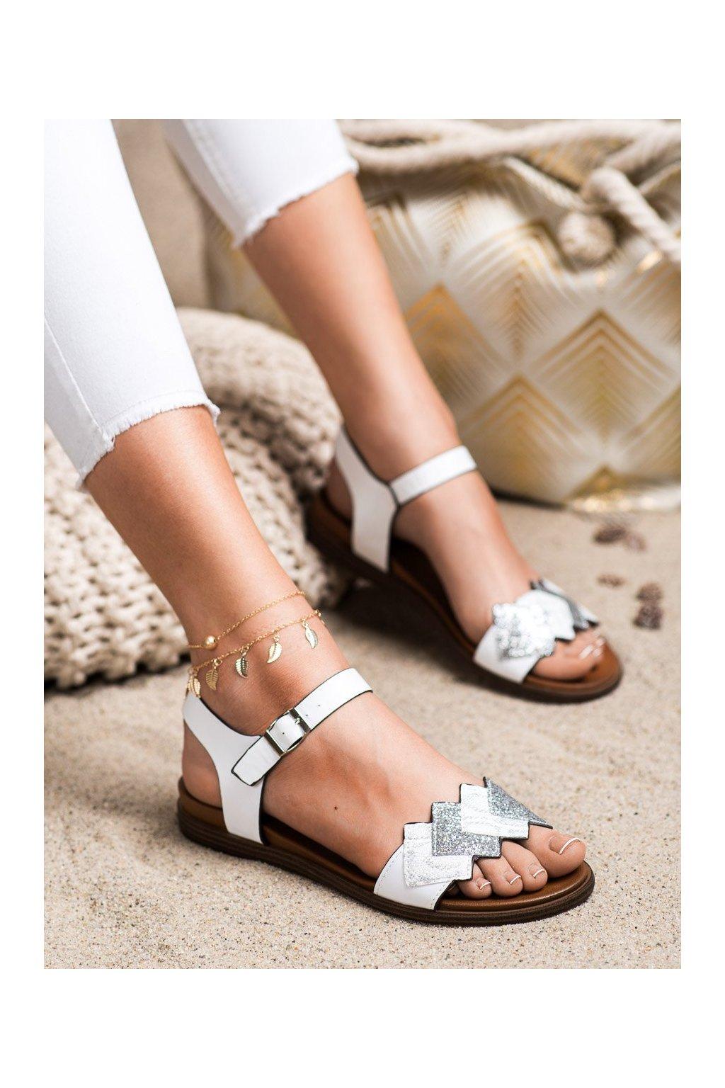 Biele sandále s plochou podrážkou Sergio leone kod SK049W