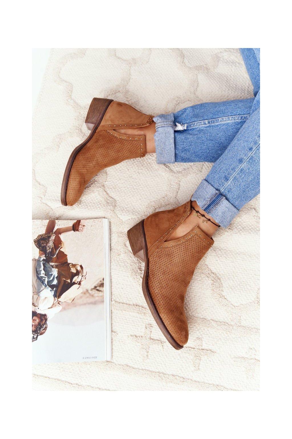 Členkové topánky na podpätku farba hnedá kód obuvi NS195P CAMEL