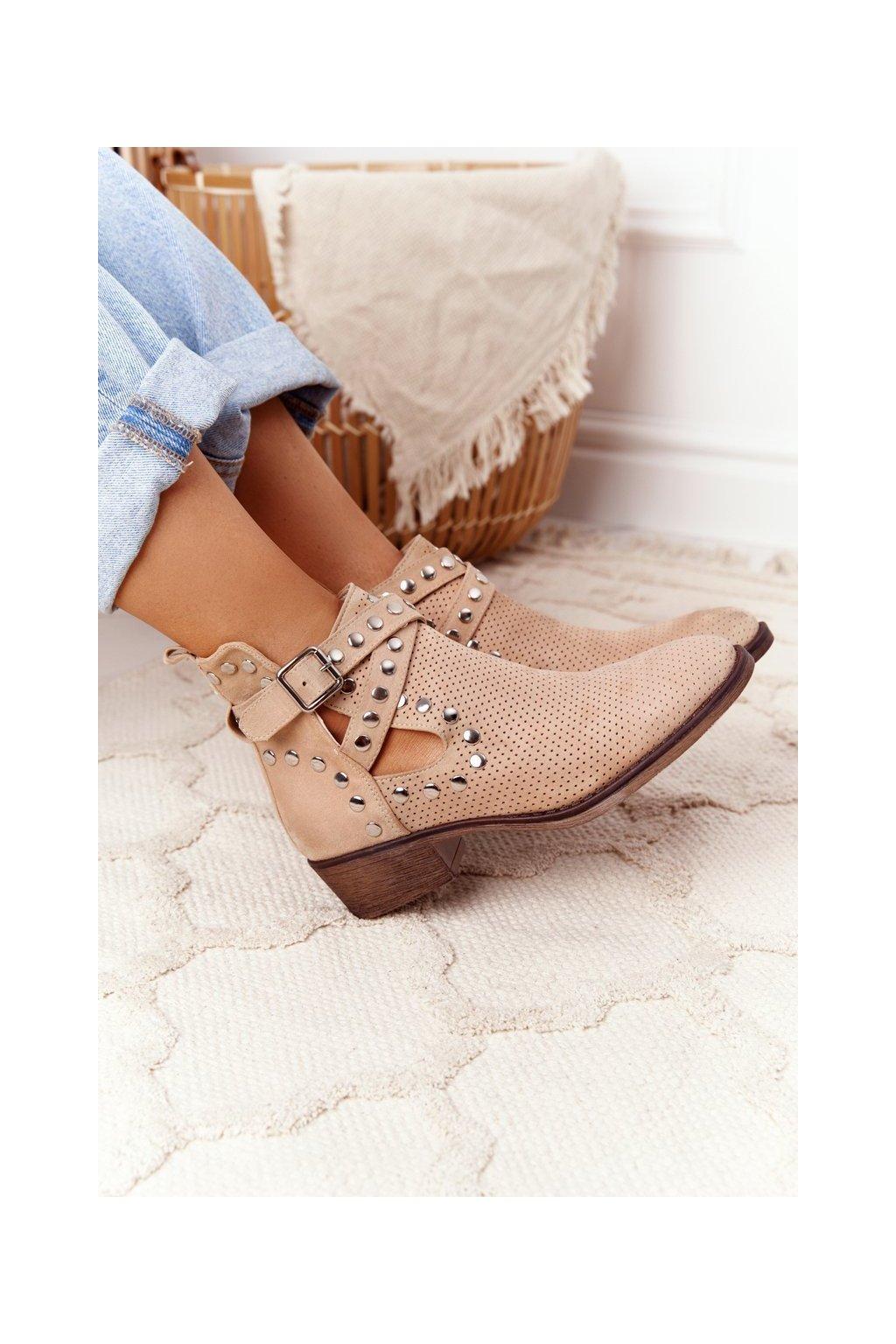 Členkové topánky na podpätku farba hnedá kód obuvi NS196P BEIGE