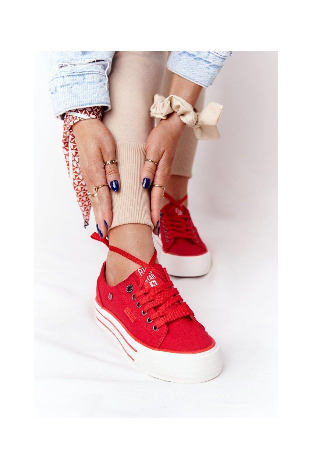 Dámske tenisky farba červená kód obuvi HH274053 RED