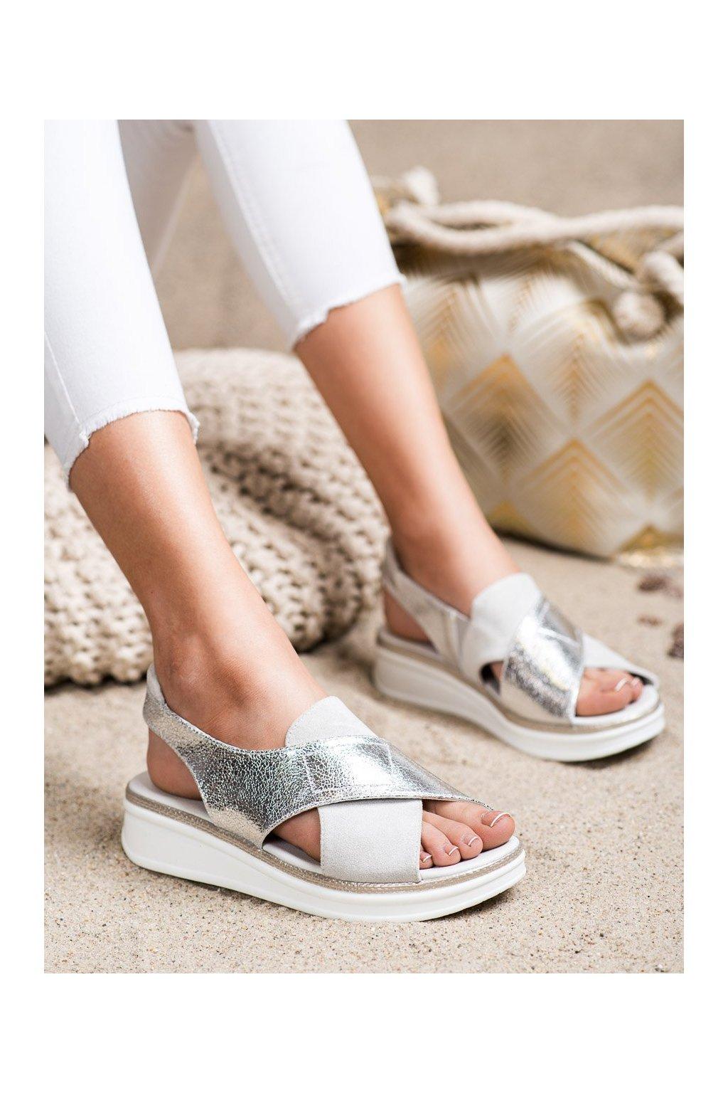 Sivé sandále na platforme Sergio leone kod SK029W