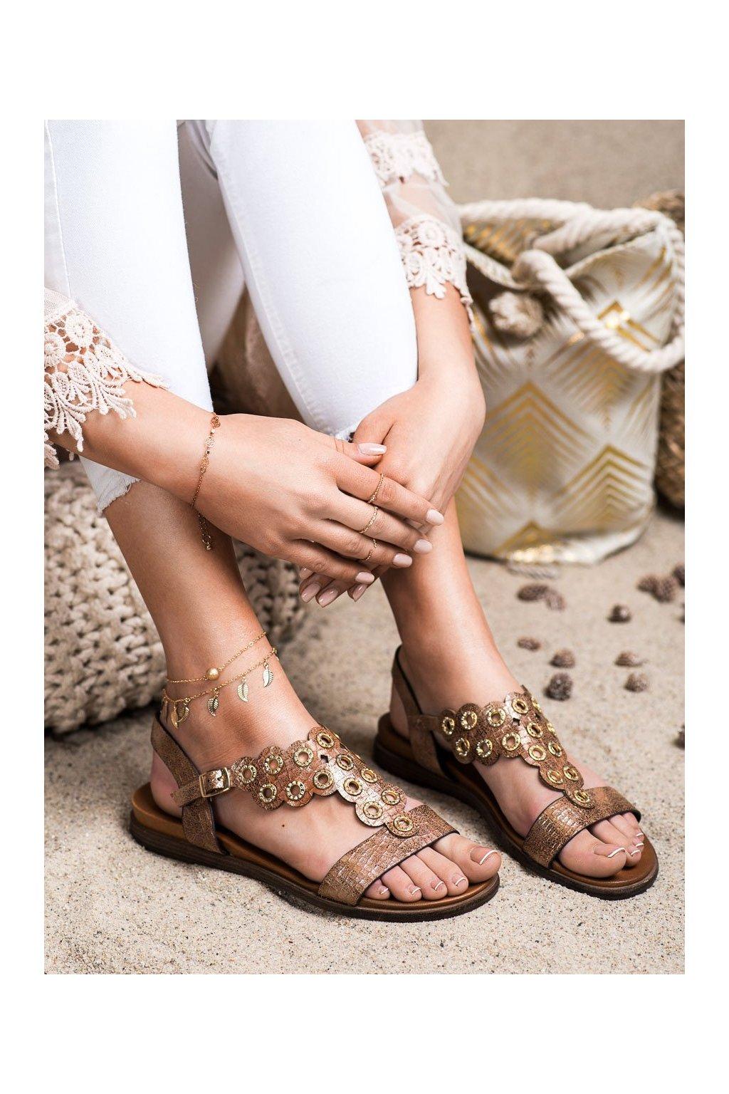 Hnedé sandále s plochou podrážkou Sergio leone kod SK012BE