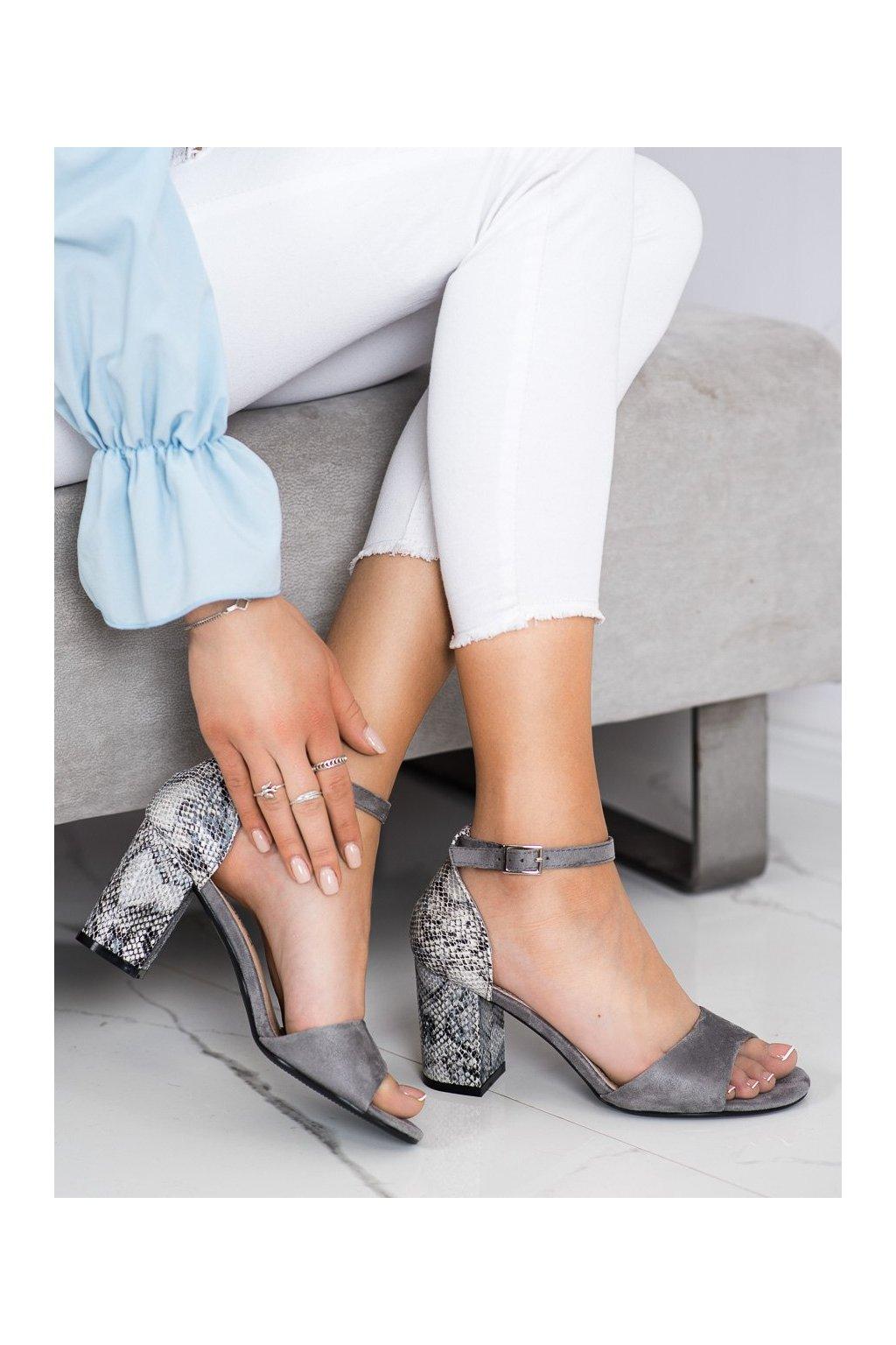 Sivé sandále na podpätku Sergio leone kod SK873G/G/SNA