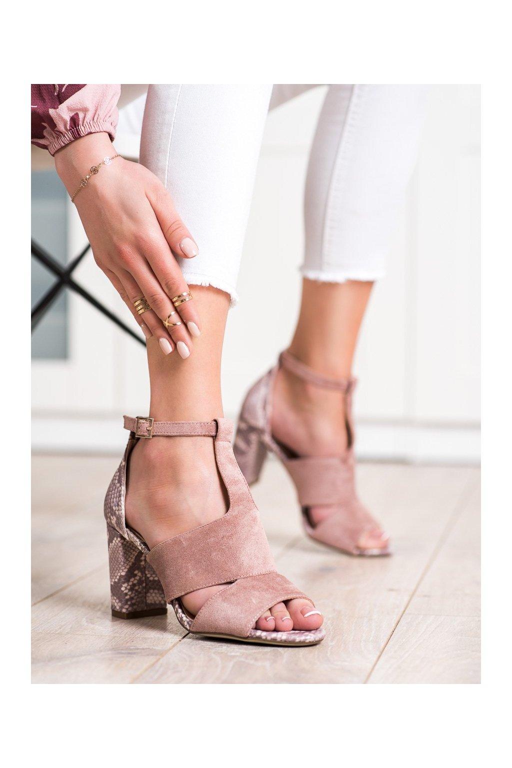 Ružové sandále na podpätku Sergio leone kod SK905P/SNA