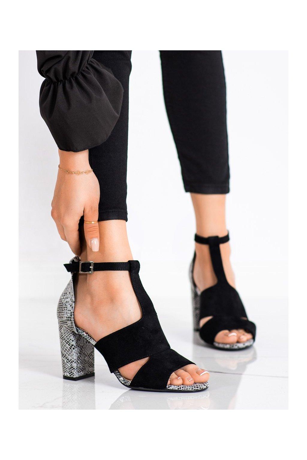 Čierne sandále na podpätku Sergio leone kod SK905B/SNA