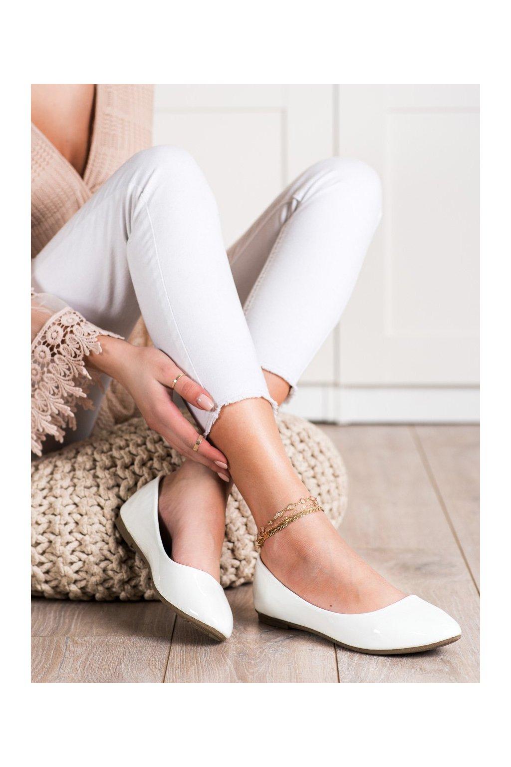 Biele dámske balerínky Diamantique kod 9988-60W