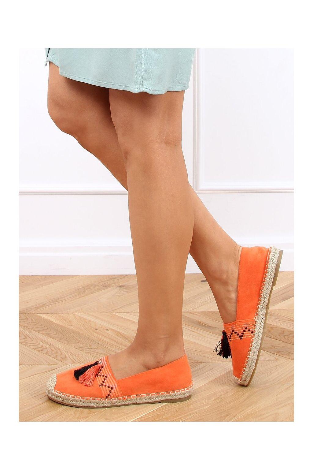 Dámske sandále oranžové na plochom podpätku LX-3R11