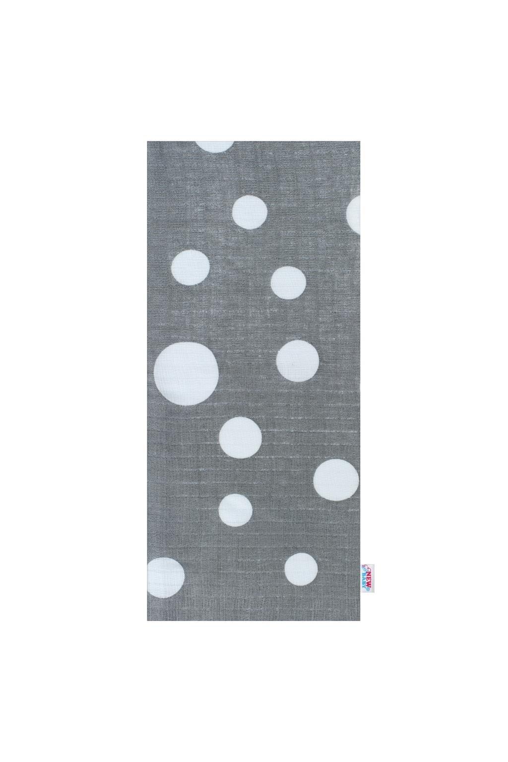 Bavlnená plienka s potlačou New Baby sivá biele bodky