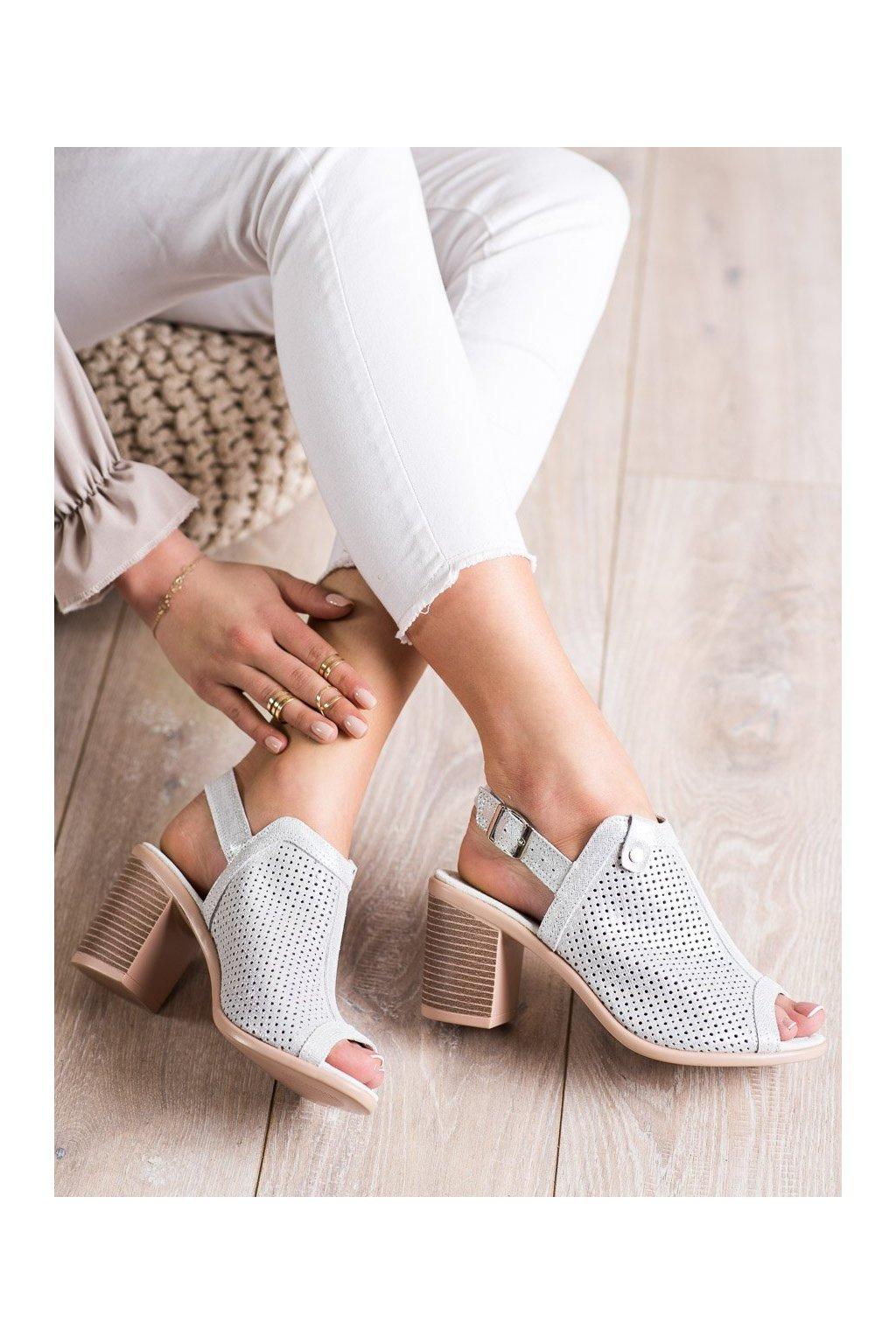 Sivé sandále na podpätku Vinceza kod FT20-8688S
