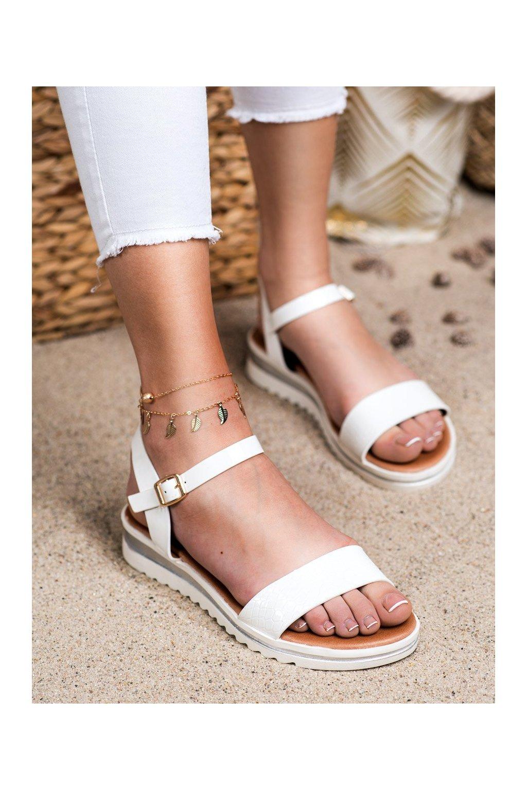 Biele sandále s plochou podrážkou na platforme Weide kod Y639W