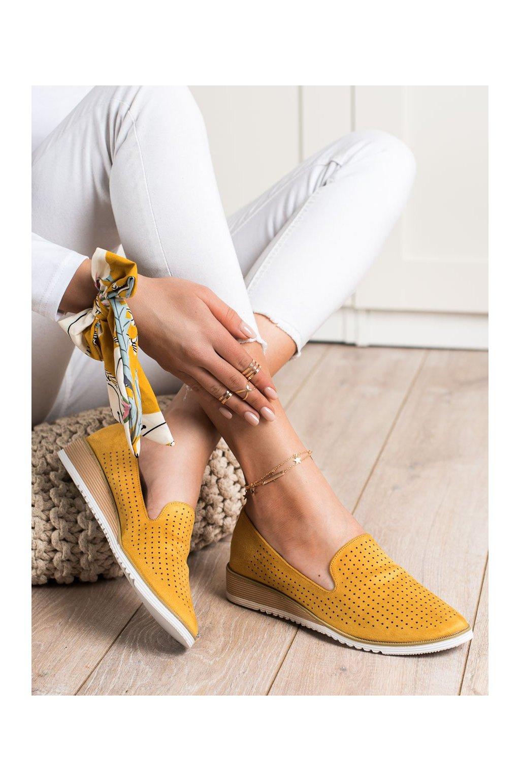 Žlté dámske balerínky Goodin kod FL608Y