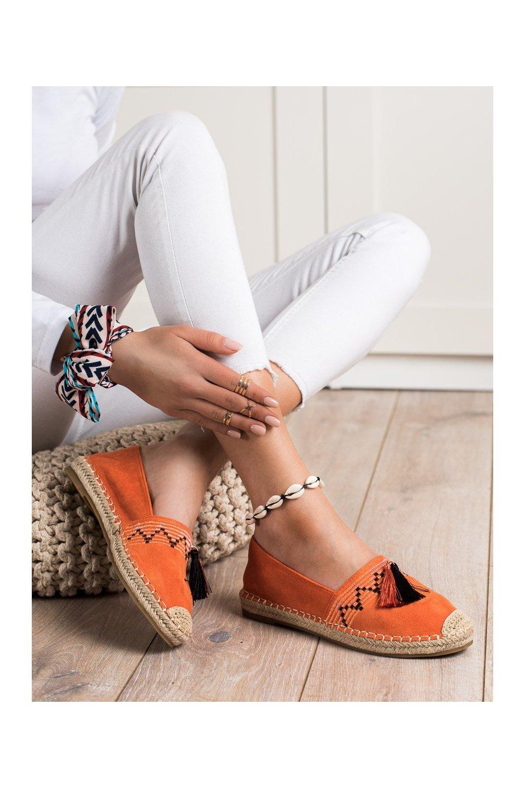 Oranžové poltopánky Best shoes kod 3R11OR