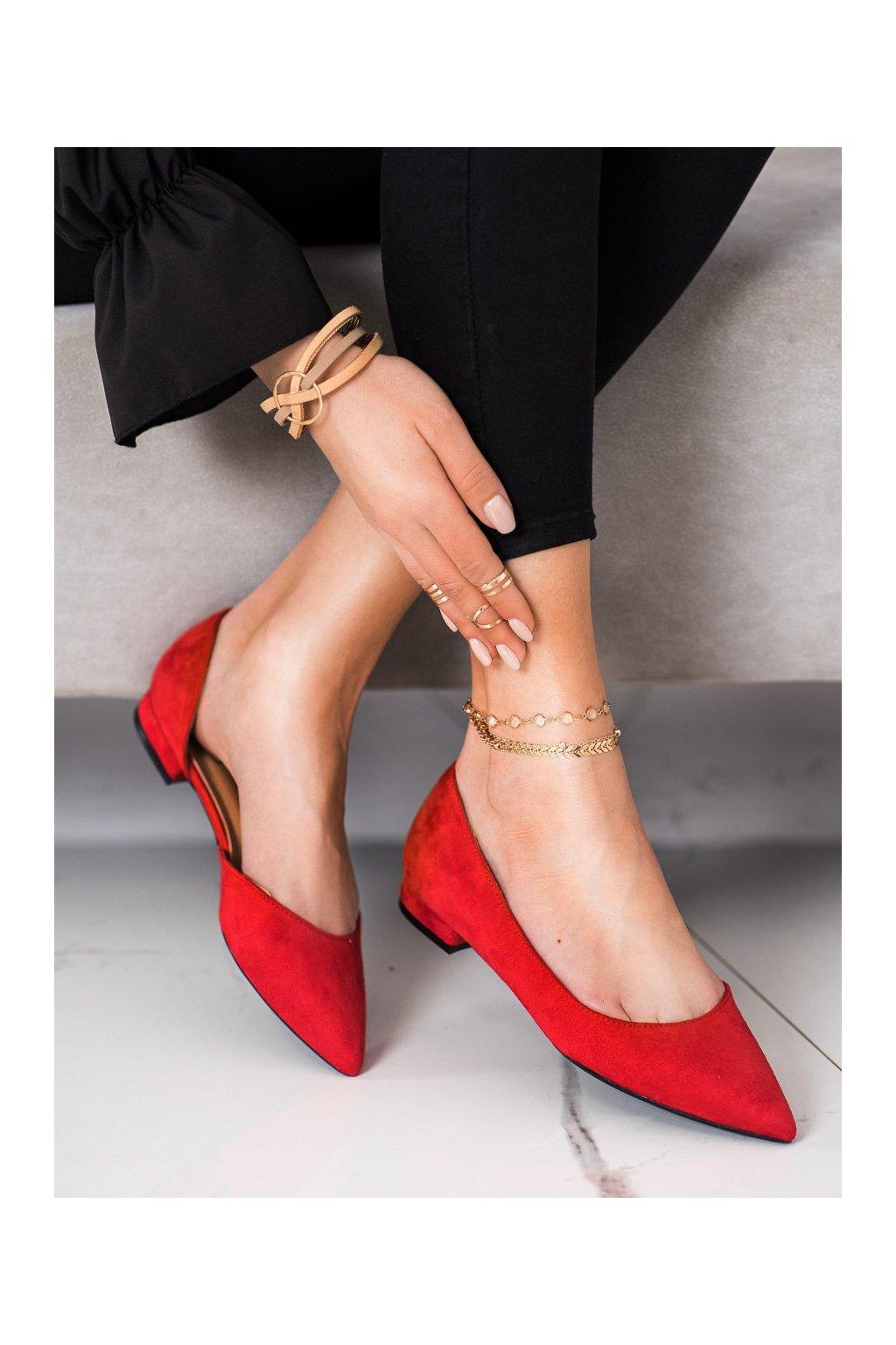 Červené dámske balerínky Lovery kod MM-593R