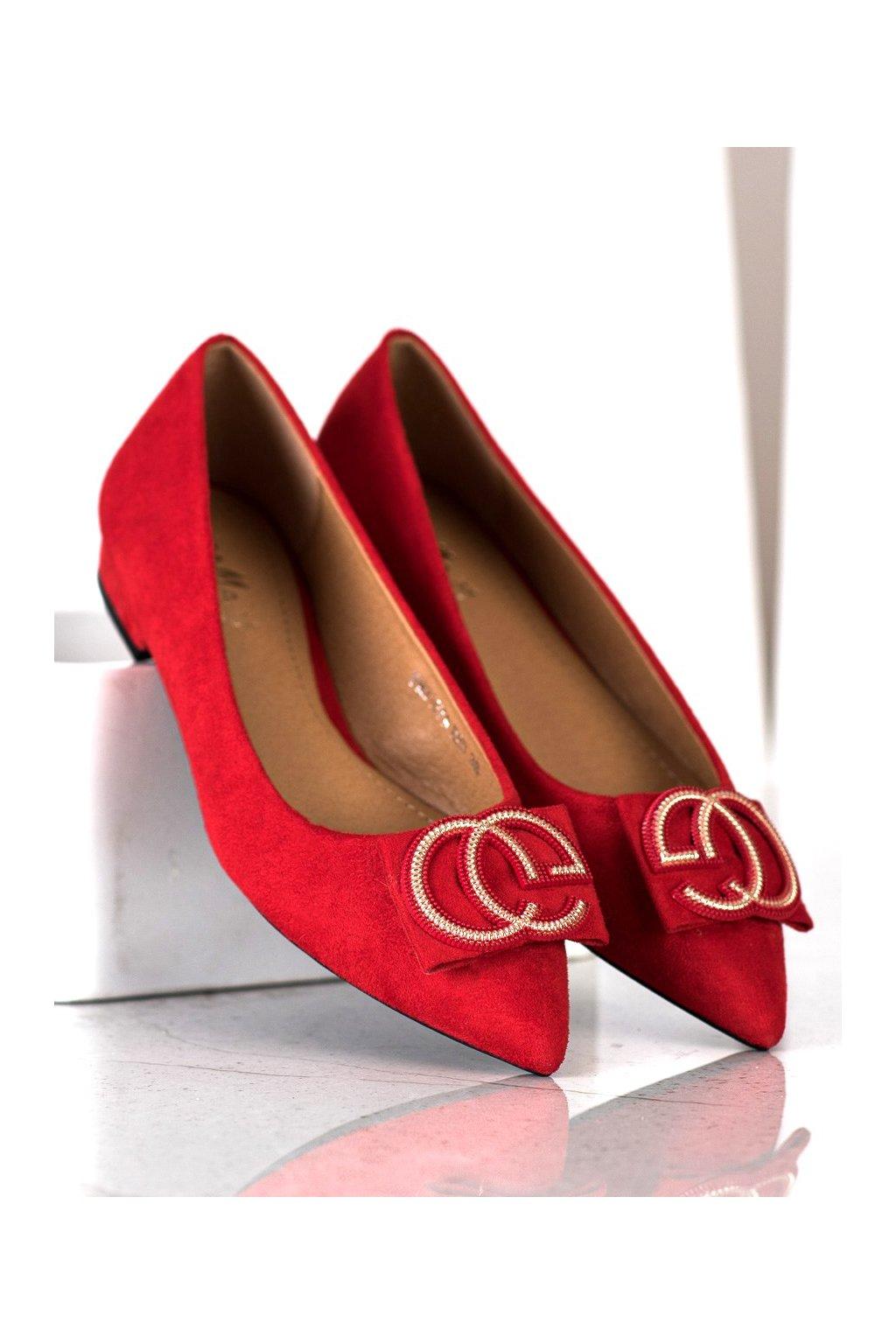 Červené dámske balerínky Fama kod FM3107R