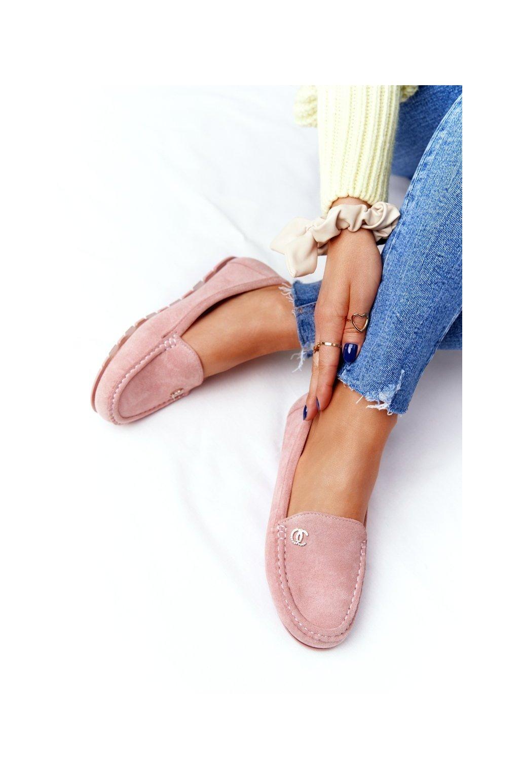 Dámske mokasíny farba ružová kód obuvi GS14P PINK
