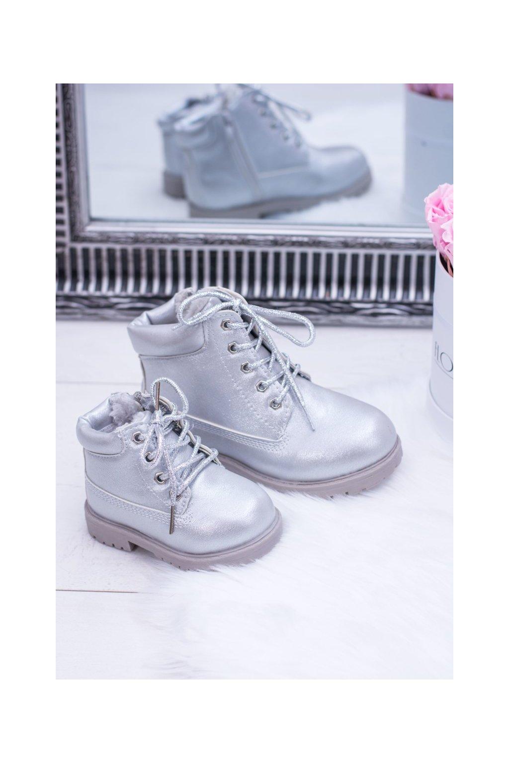 Detské členkové topánky farba sivá NJSK 20306-1G/2G/3G SILVER