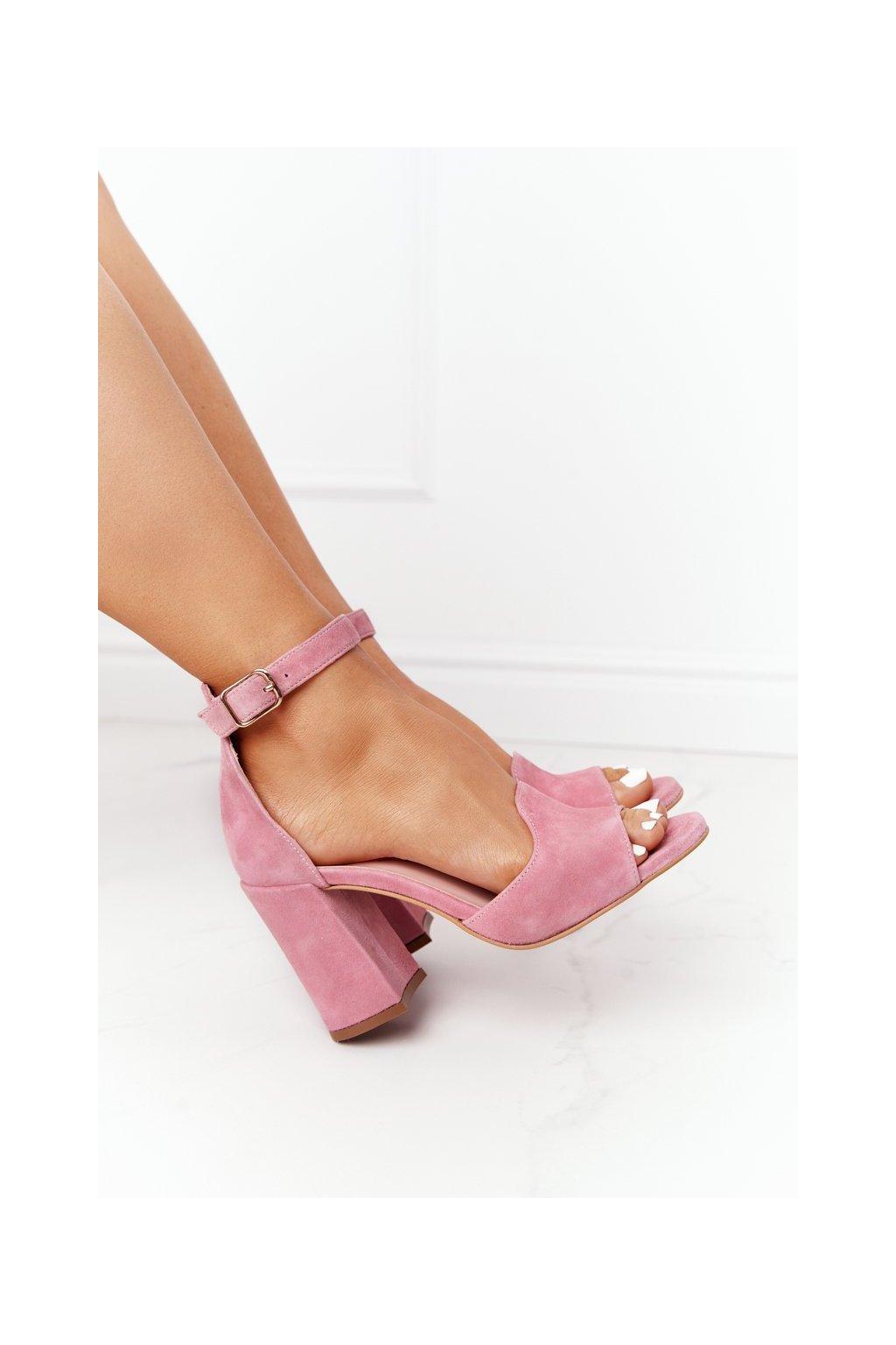 Dámske sandále na podpätku farba ružová kód obuvi 4361537/477 PEONY / RÓŻ