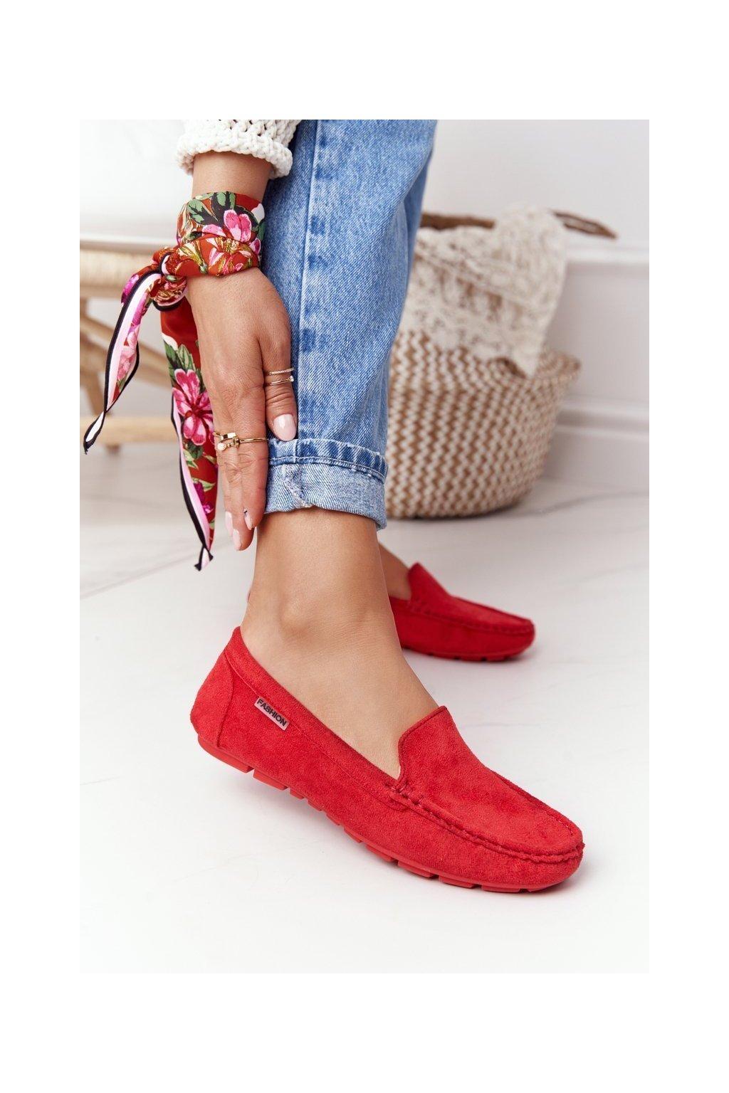 Dámske mokasíny farba červená kód obuvi MH03-2 RED