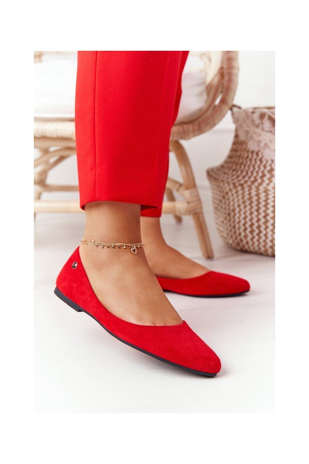 Dámske balerínky farba červená kód obuvi BL622 RED MIC