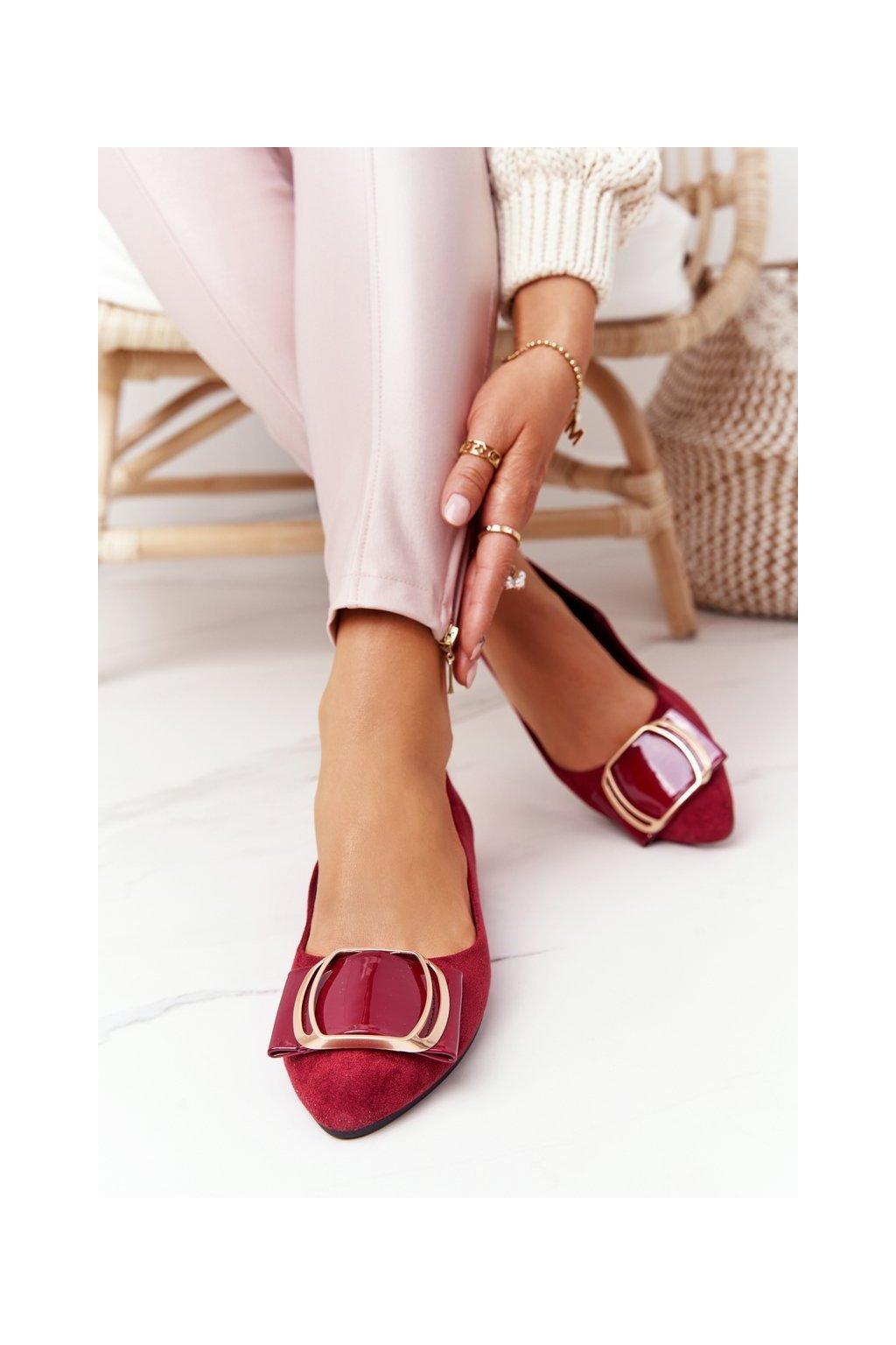 Dámske balerínky farba červená kód obuvi BL623 BORDO MIC