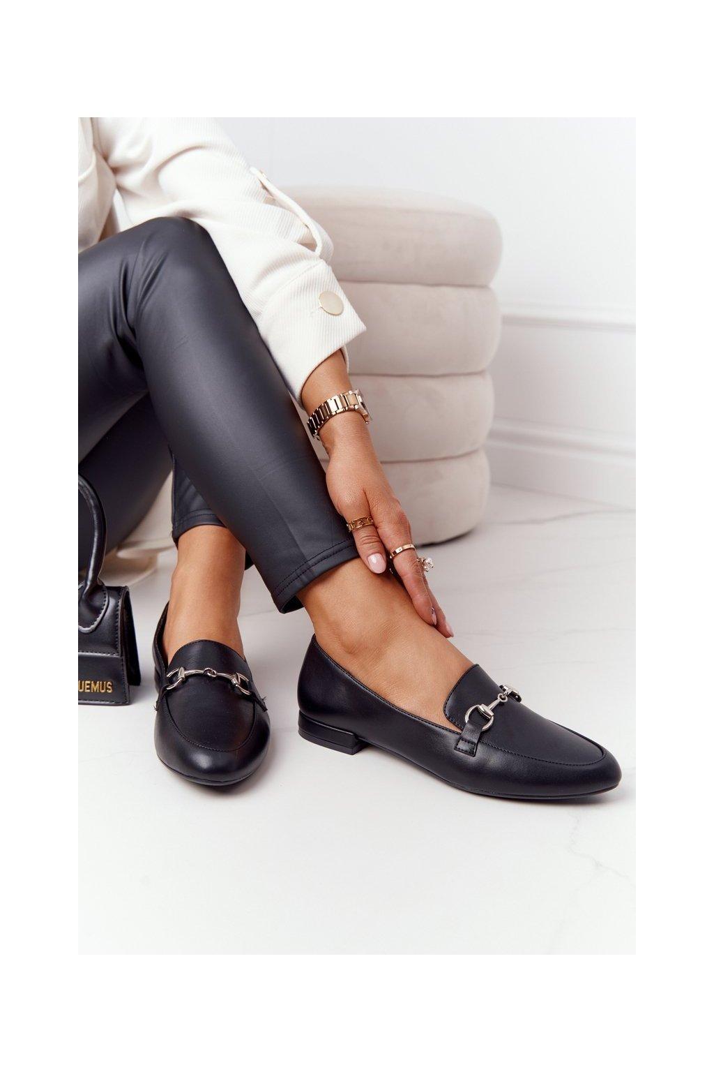 Dámske mokasíny farba čierna kód obuvi MK733 BLK PU