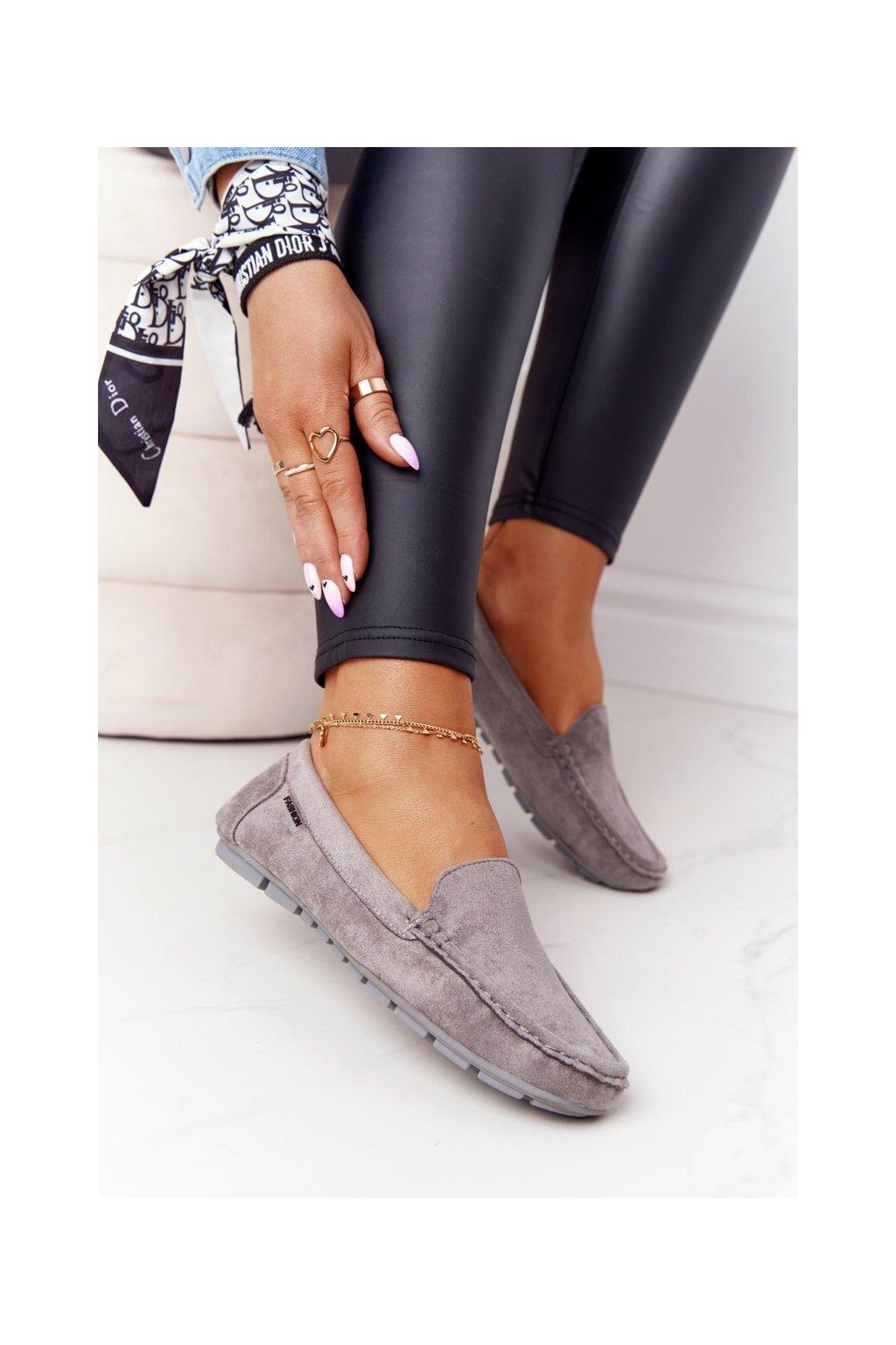 Dámske mokasíny farba sivá kód obuvi MH03-5 GREY