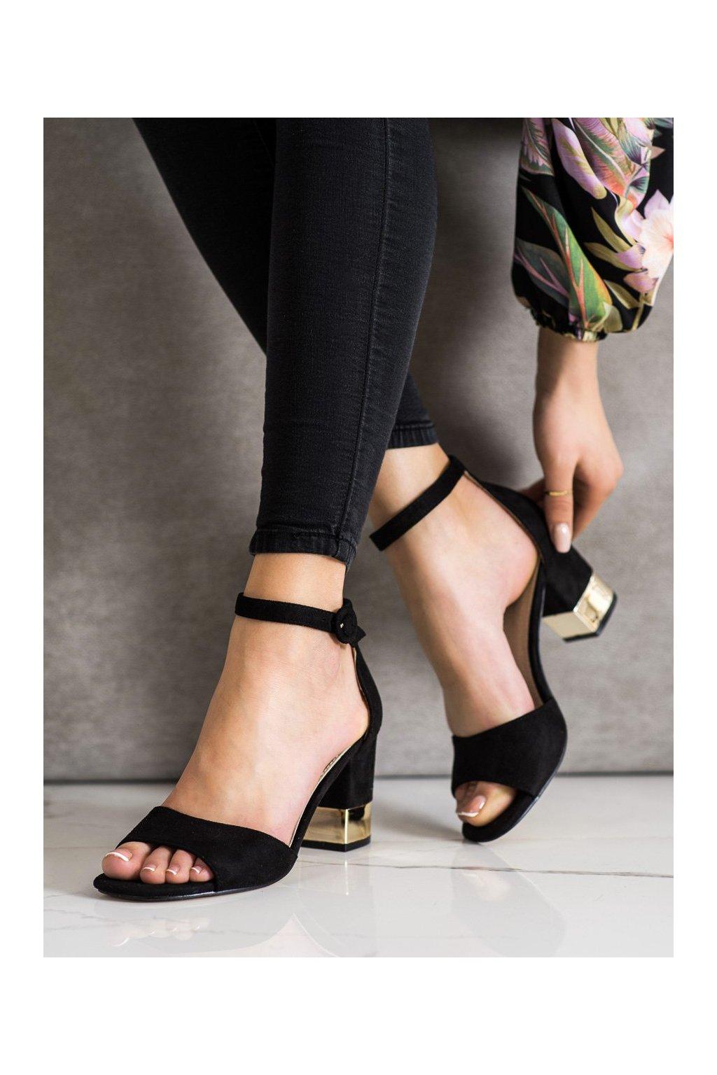 Čierne sandále na podpätku Filippo kod DS1288/20B