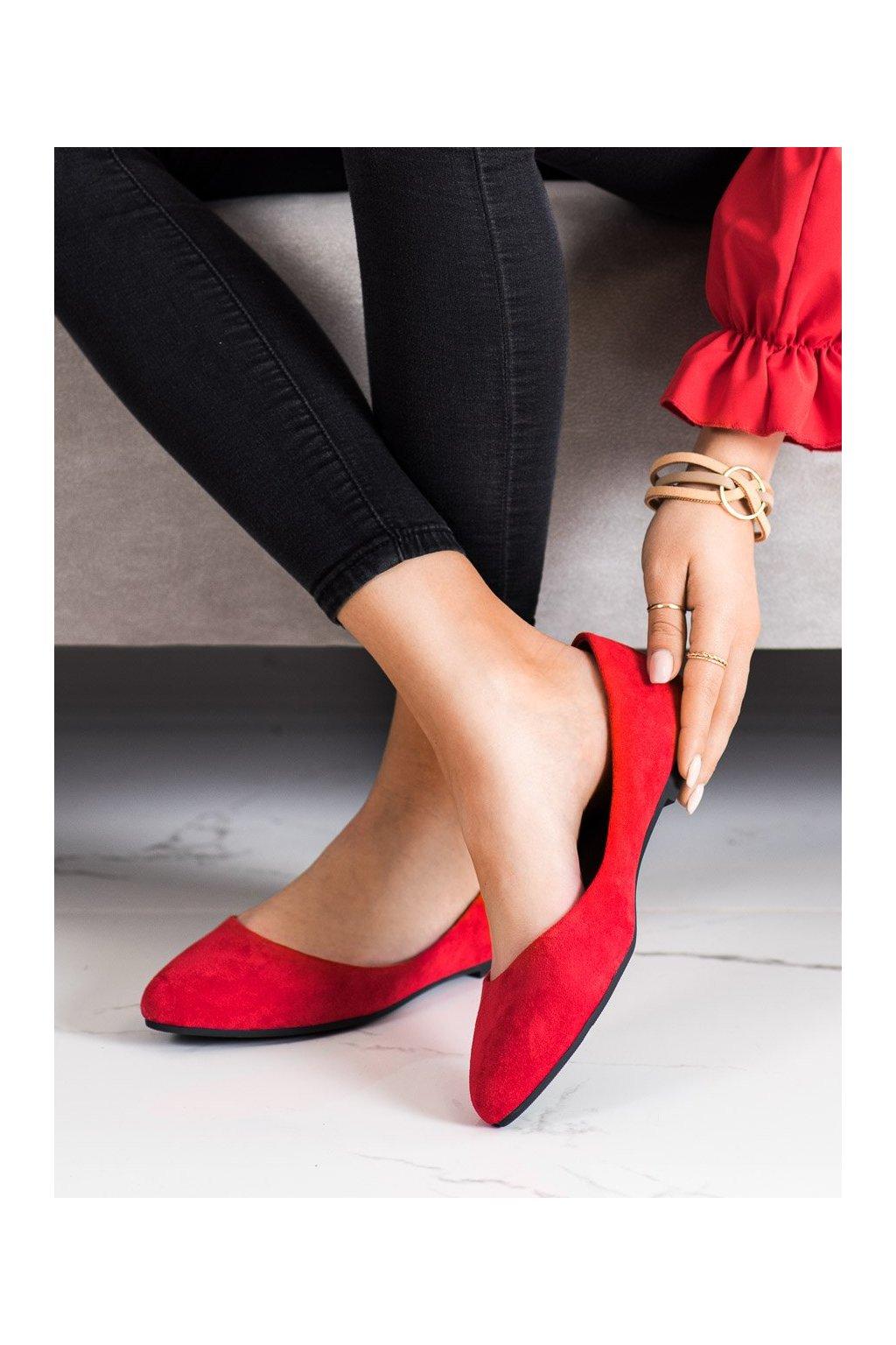 Červené dámske balerínky Sergio leone kod BL622R