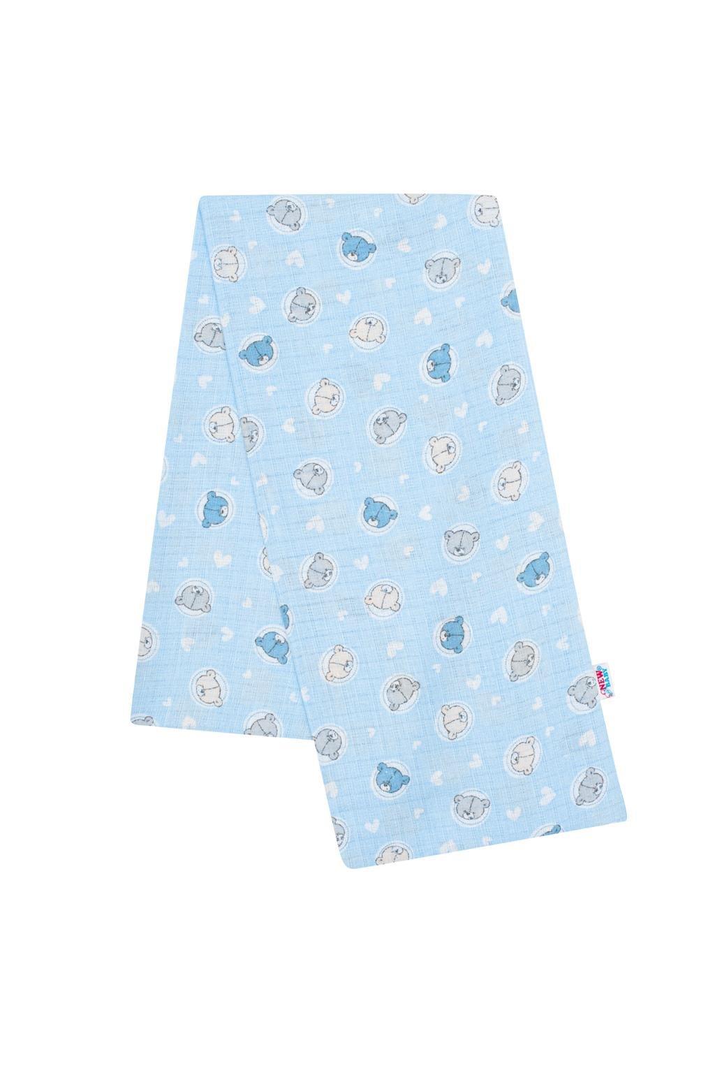 Bavlnená plienka s potlačou New Baby modrá malé medvedíky
