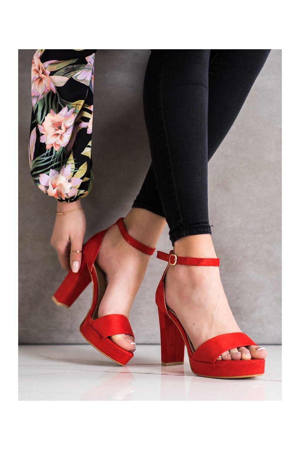 Červené sandále na podpätku Weide kod Y653R