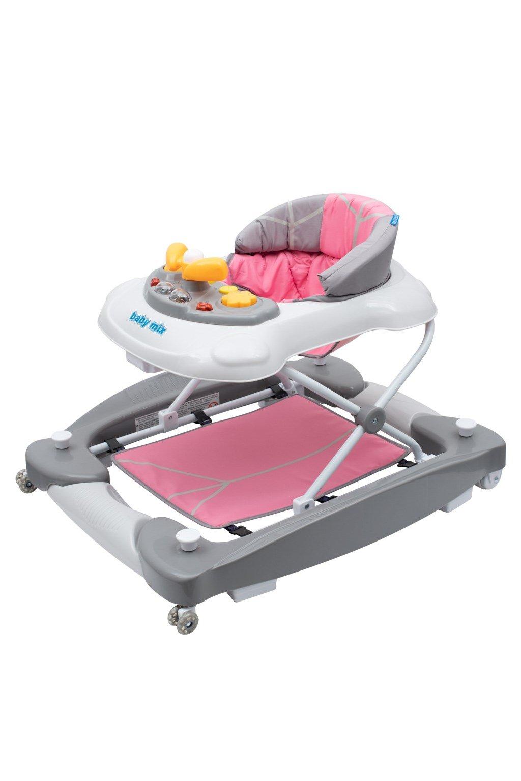 Detské chodítko s hojdačkou a siikónovými kolieskami Baby Mix ružové
