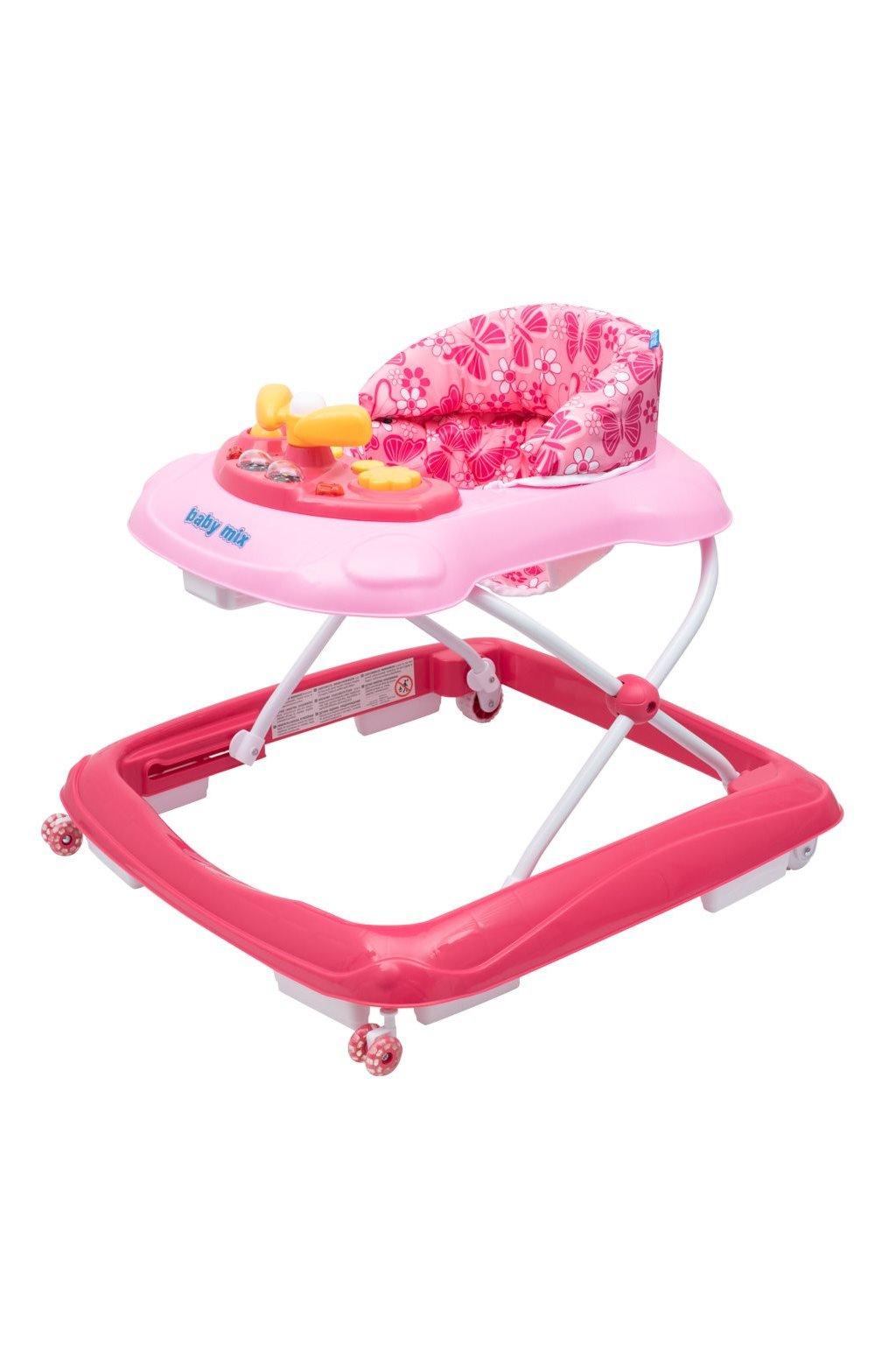 Detské chodítko Baby Mix s volantom a silikónovými kolieskami ružové