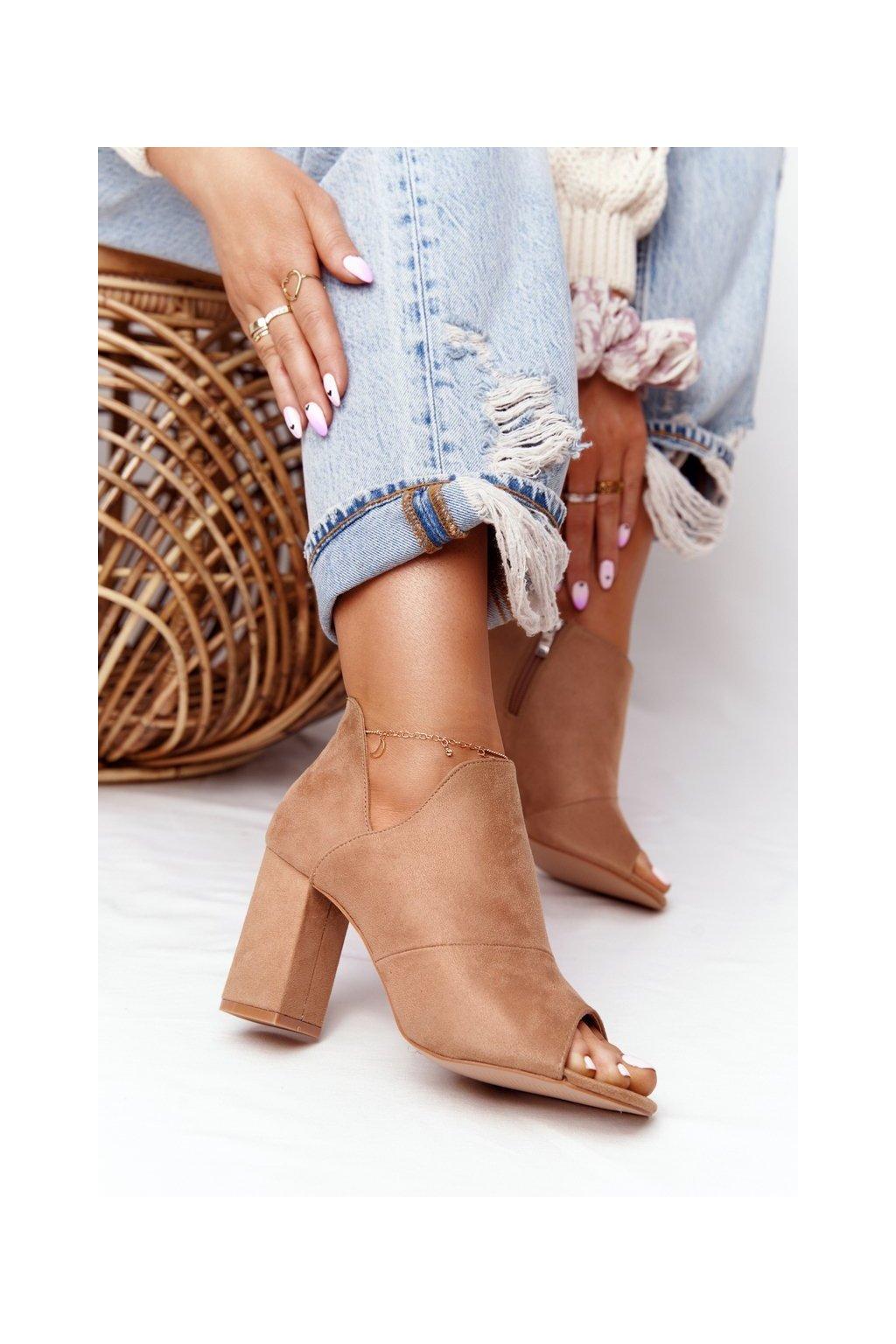 Členkové topánky na podpätku farba hnedá kód obuvi 21-17095 BE BEIGE