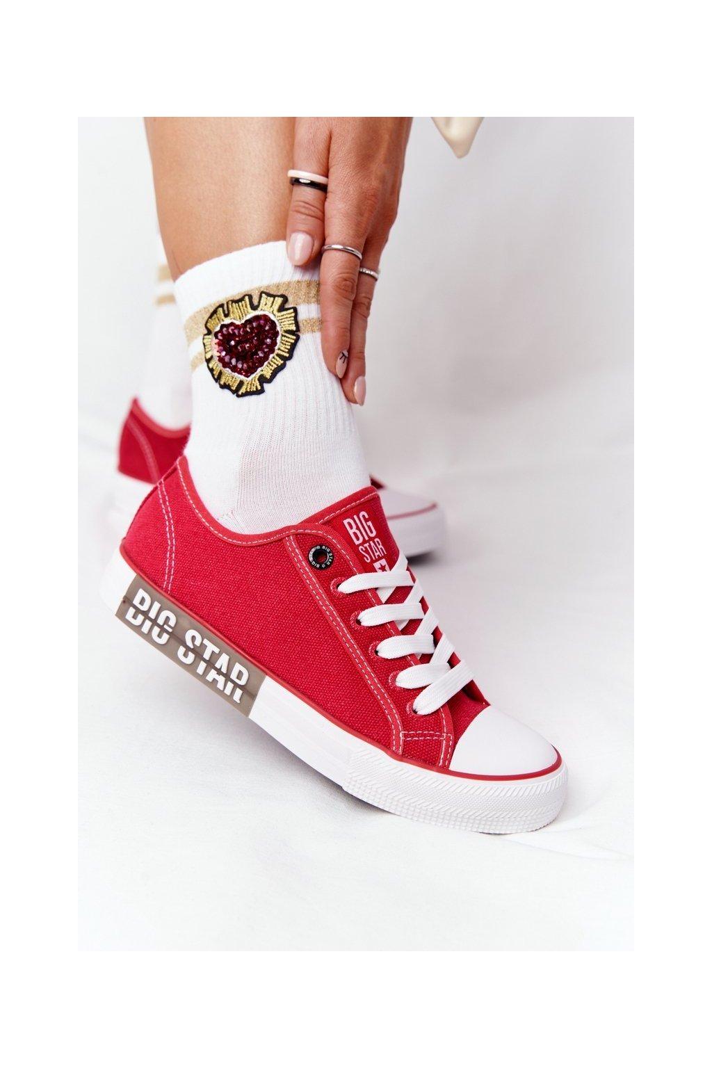Dámske tenisky farba červená kód obuvi HH274115 RED