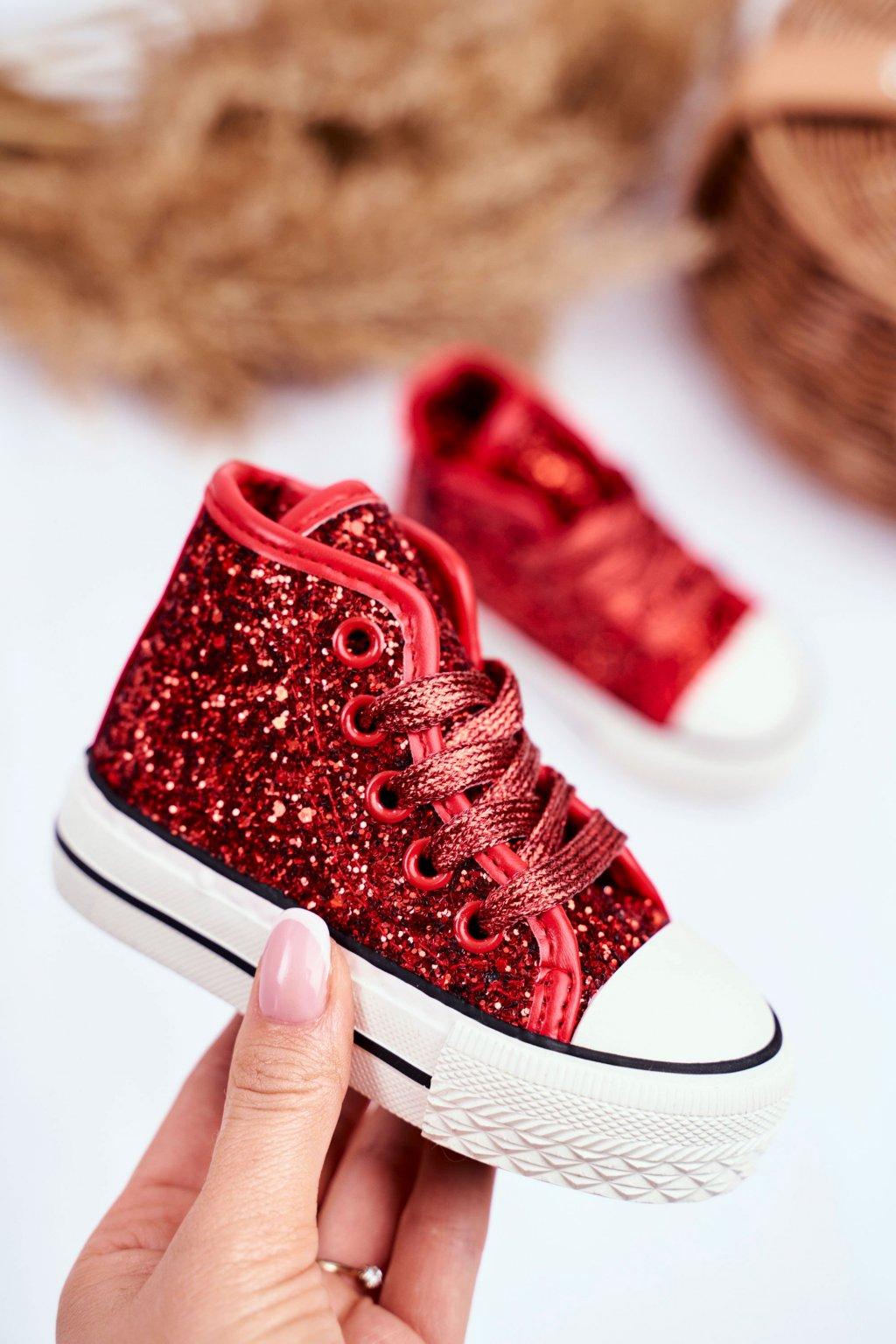 Detské tenisky farba červená NJSK 80092 RED