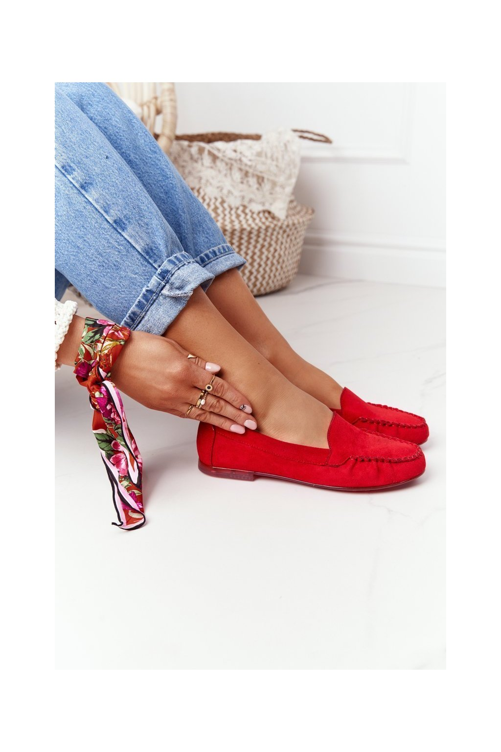 Dámske mokasíny farba červená kód obuvi MK722 CZERWONY