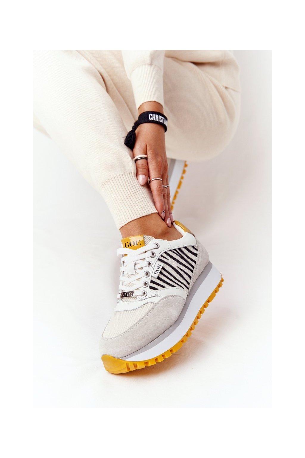 Dámske tenisky farba biela kód obuvi HH2N4001 WHITE/YELLOW