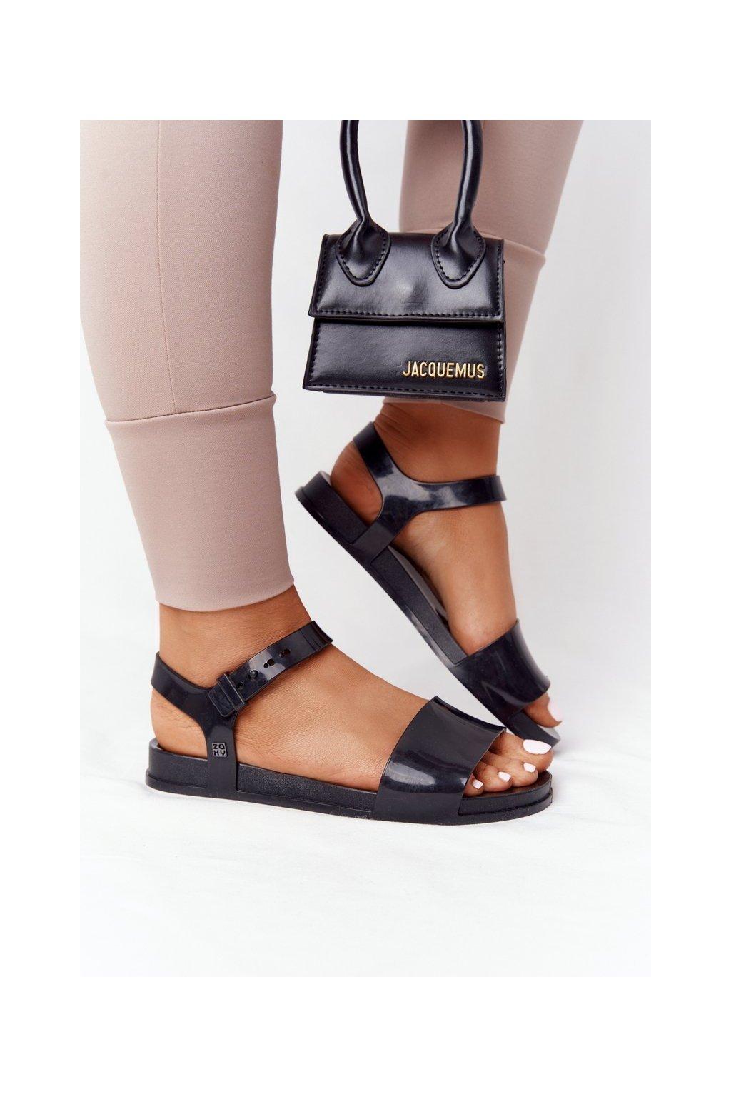 Dámske ploché sandále farba čierna kód obuvi HH285127 BLK