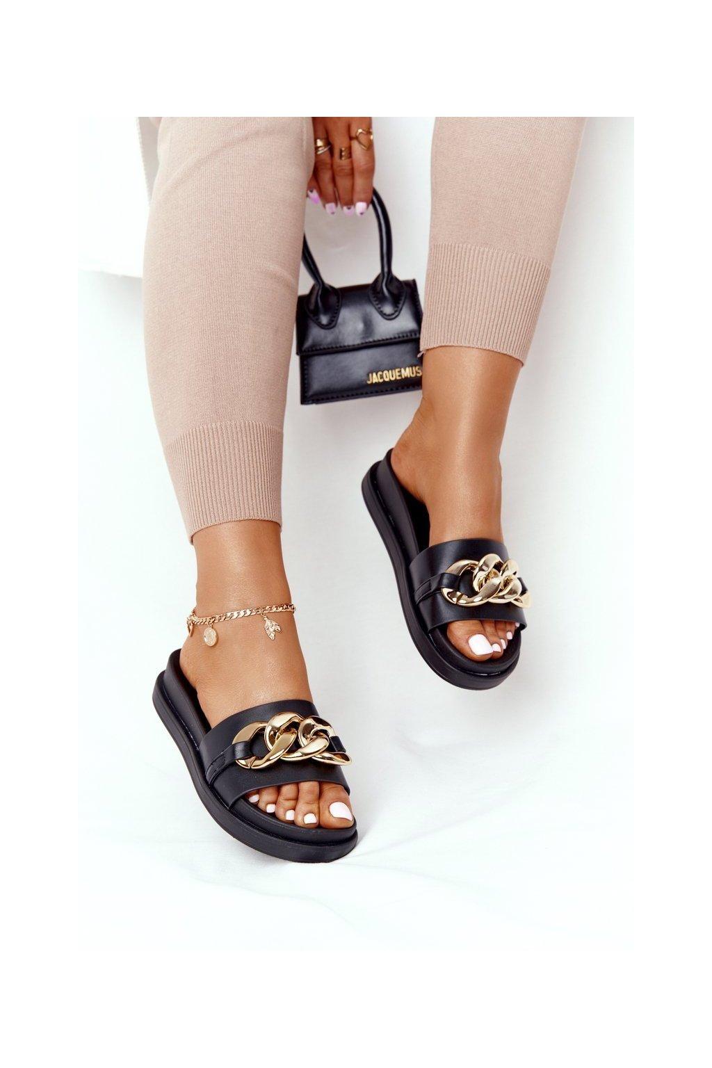 Dámske šľapky farba čierna kód obuvi 55-106 BLK
