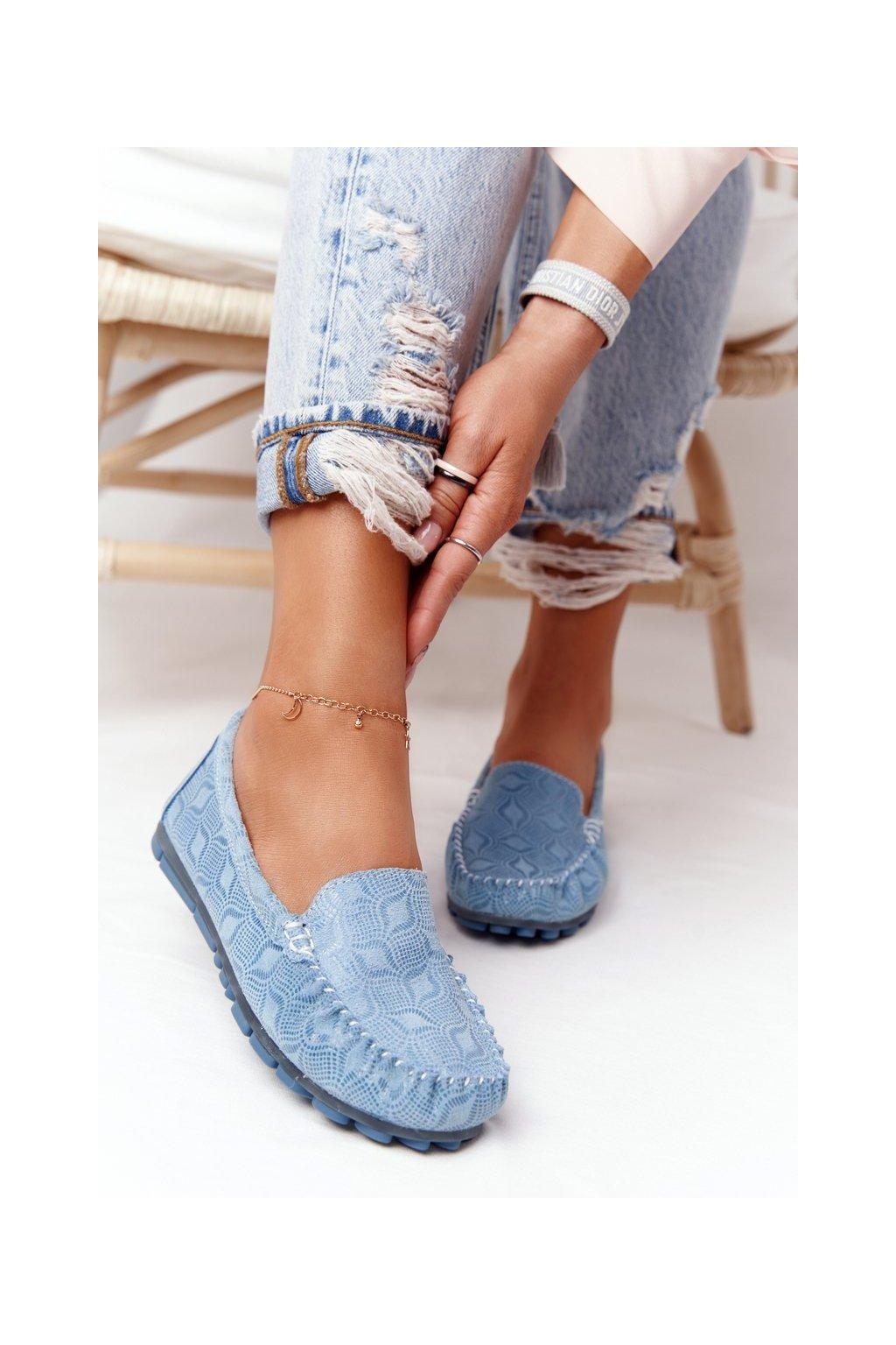 Dámske mokasíny farba modrá kód obuvi OC-125X29-2 BLUE