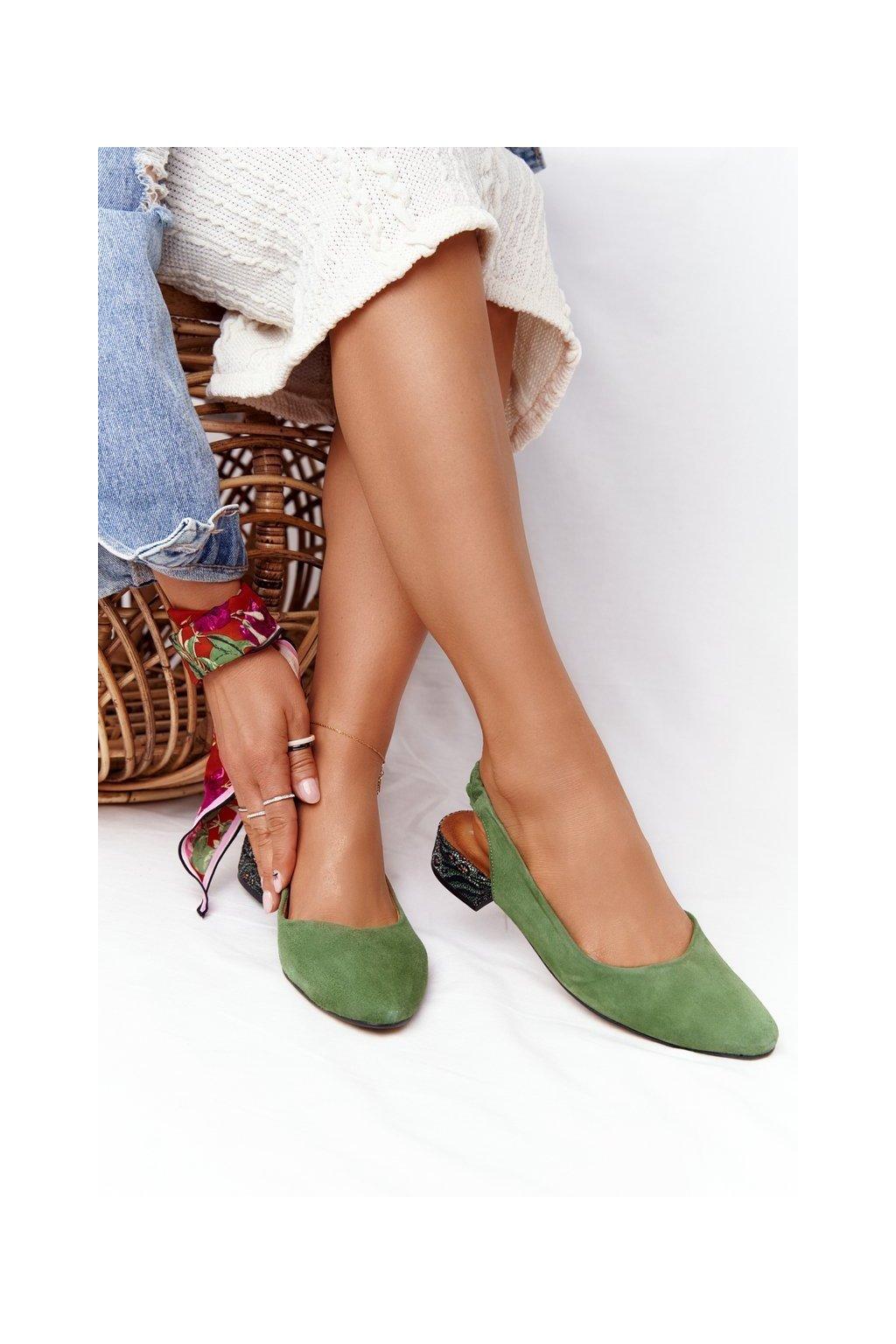 Dámske balerínky farba zelená kód obuvi 04482-09 ZIELONY