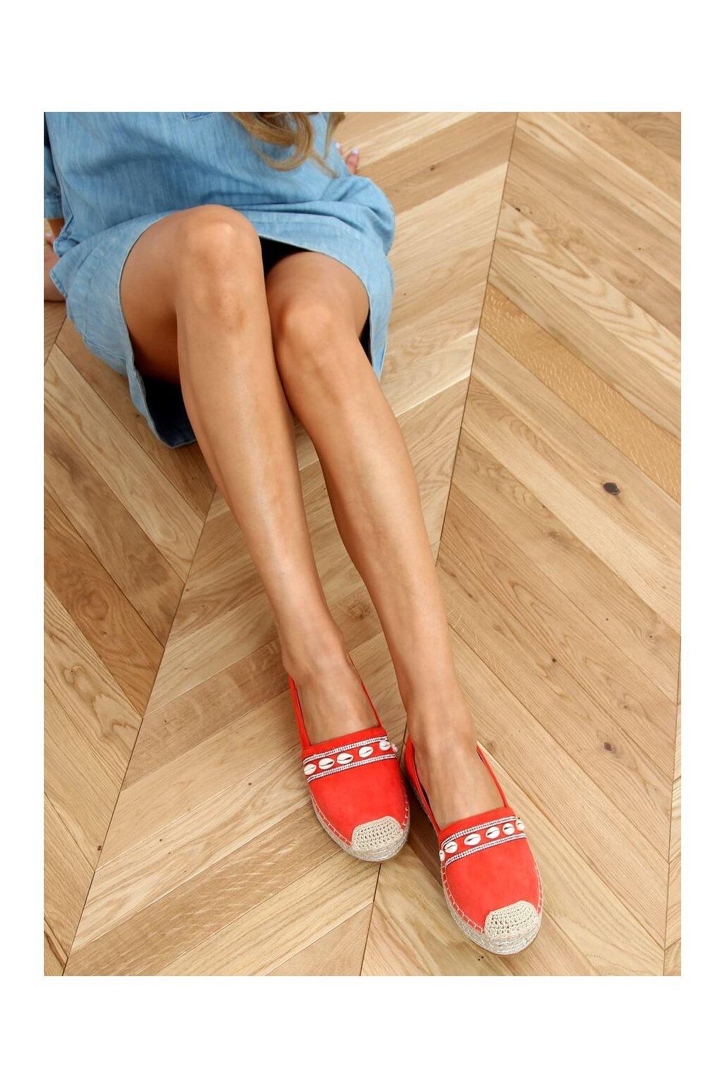 Dámske sandále oranžové na plochom podpätku 6771