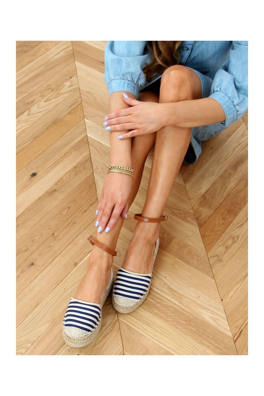 Dámske sandále s plochou podrážkou modré na plochom podpätku 9R108