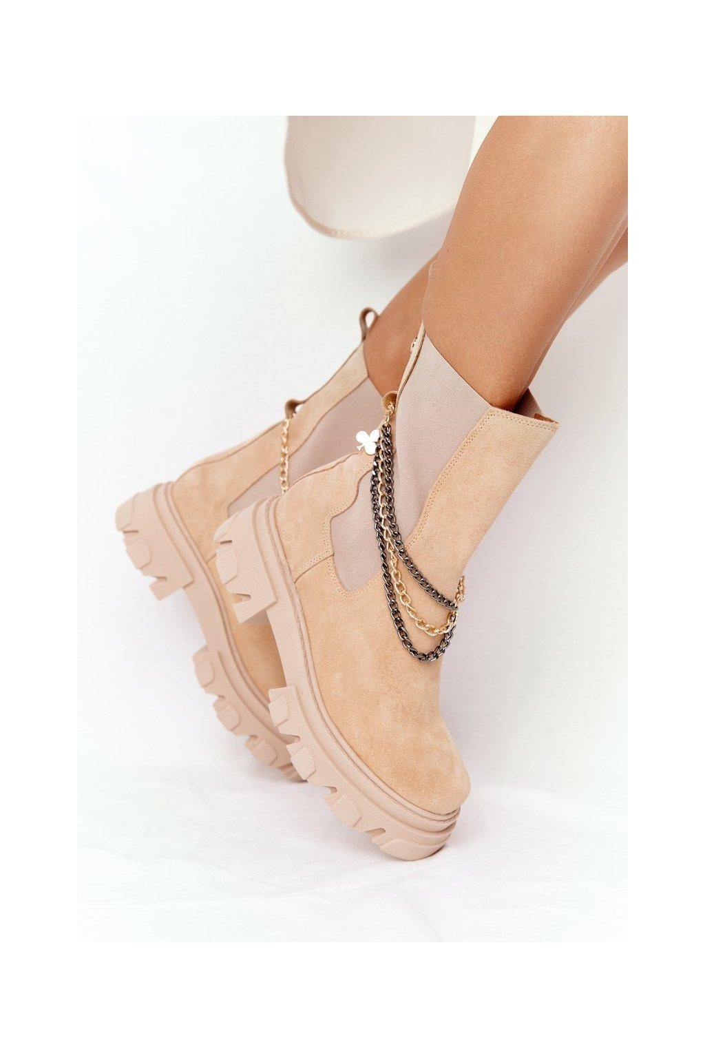 Členkové topánky na podpätku farba hnedá kód obuvi 2998-0 PIASEK WELUR