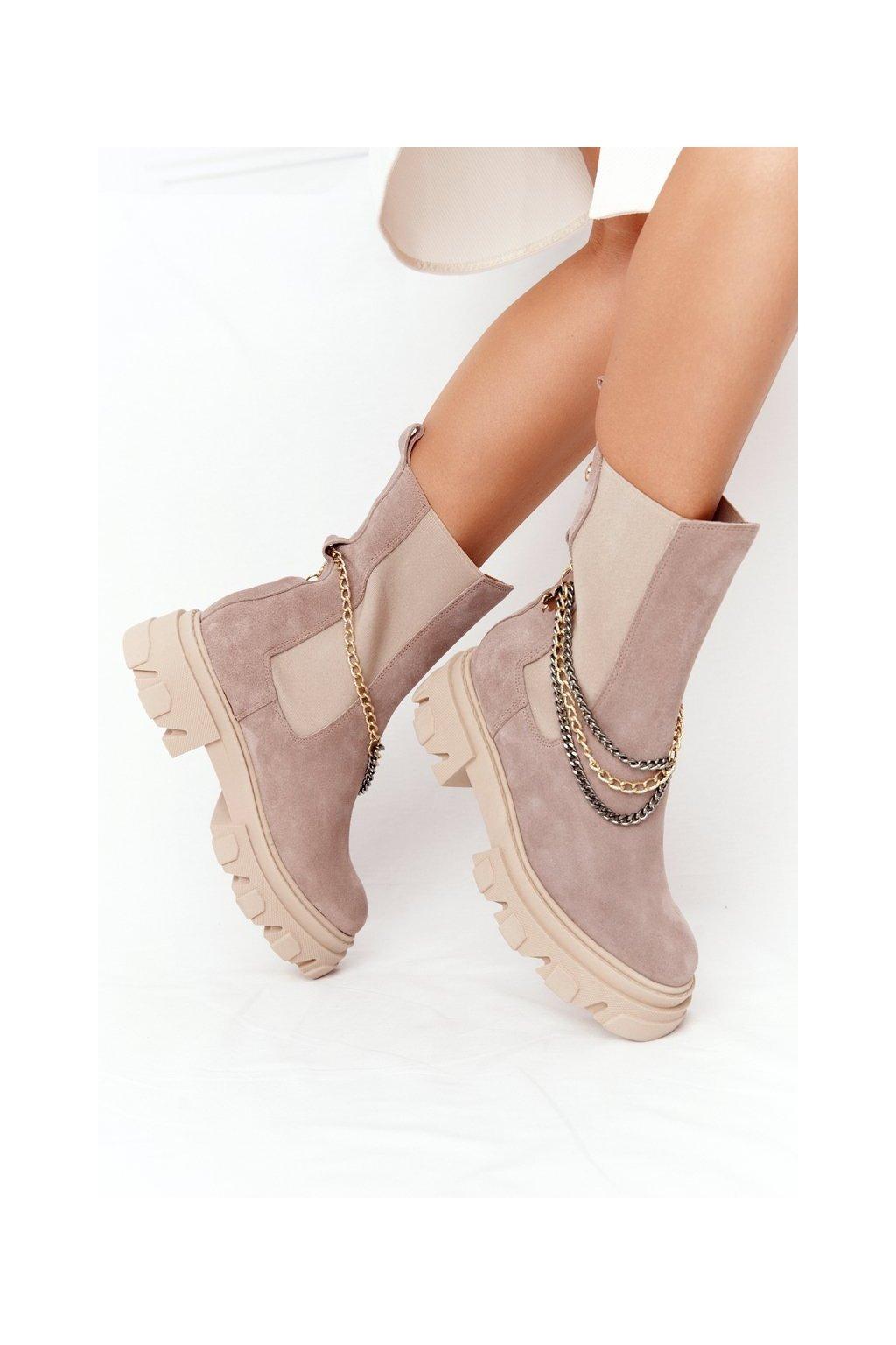 Členkové topánky na podpätku farba hnedá kód obuvi 2998-0 BEŻ WELUR