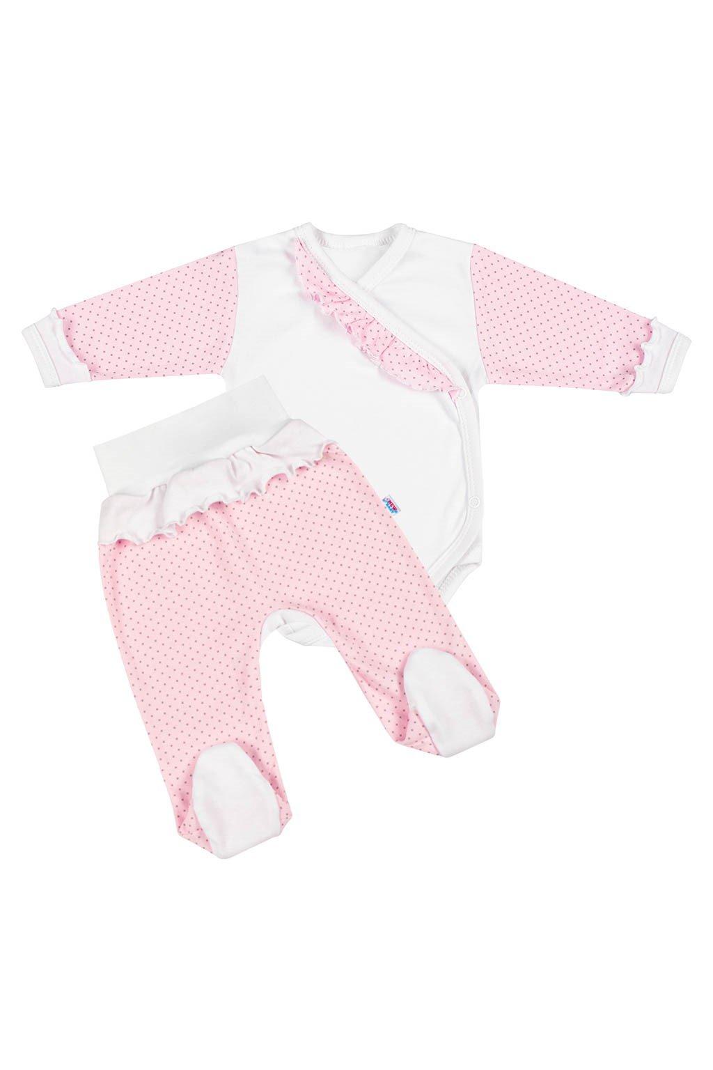 2-dielna dojčenská súprava New Baby Puntík II bielo-ružová NJSK 39065