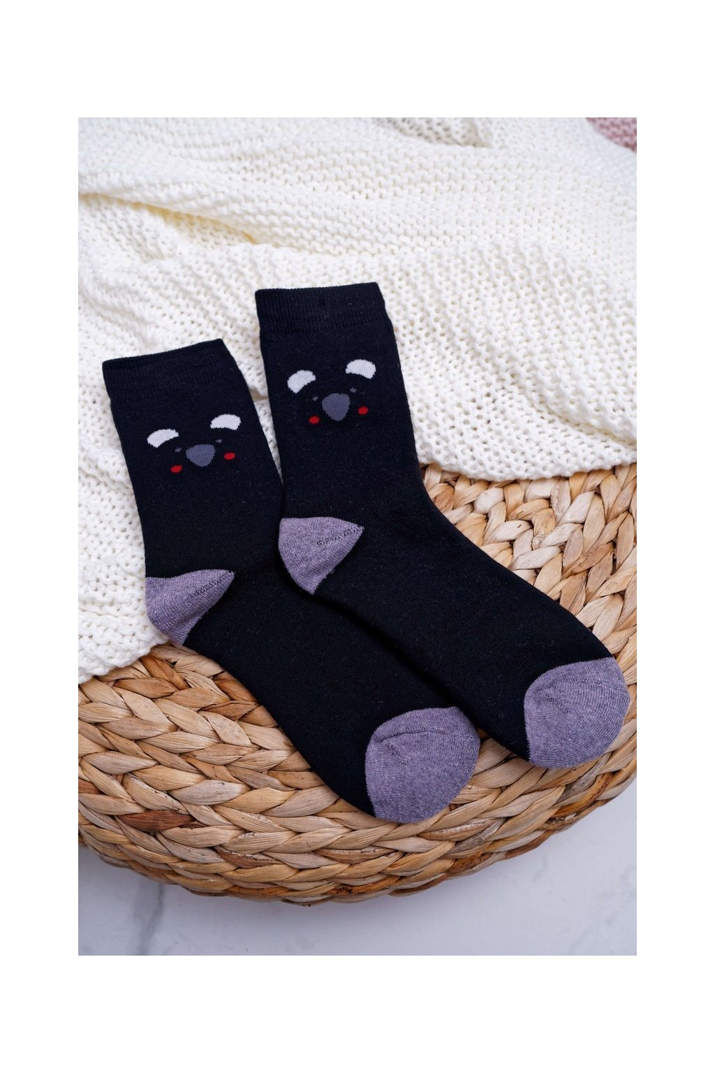 Dámske ponožky farba čierna NJSK NV5707 BLK PANDA