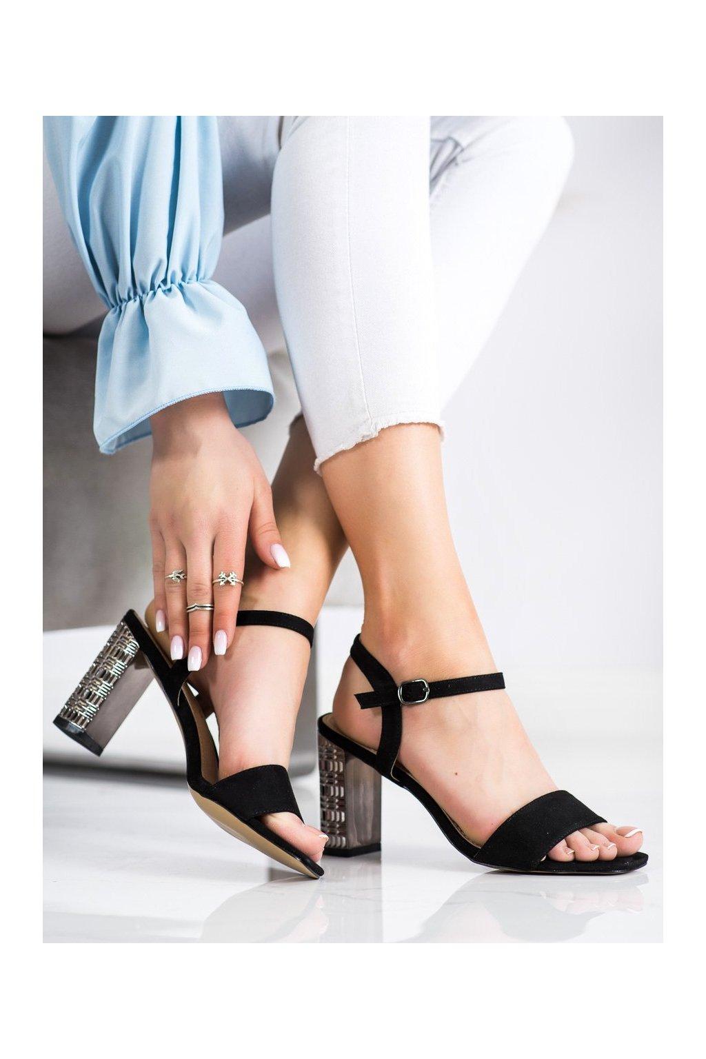 Čierne sandále na podpätku S. barski kod LJ261B