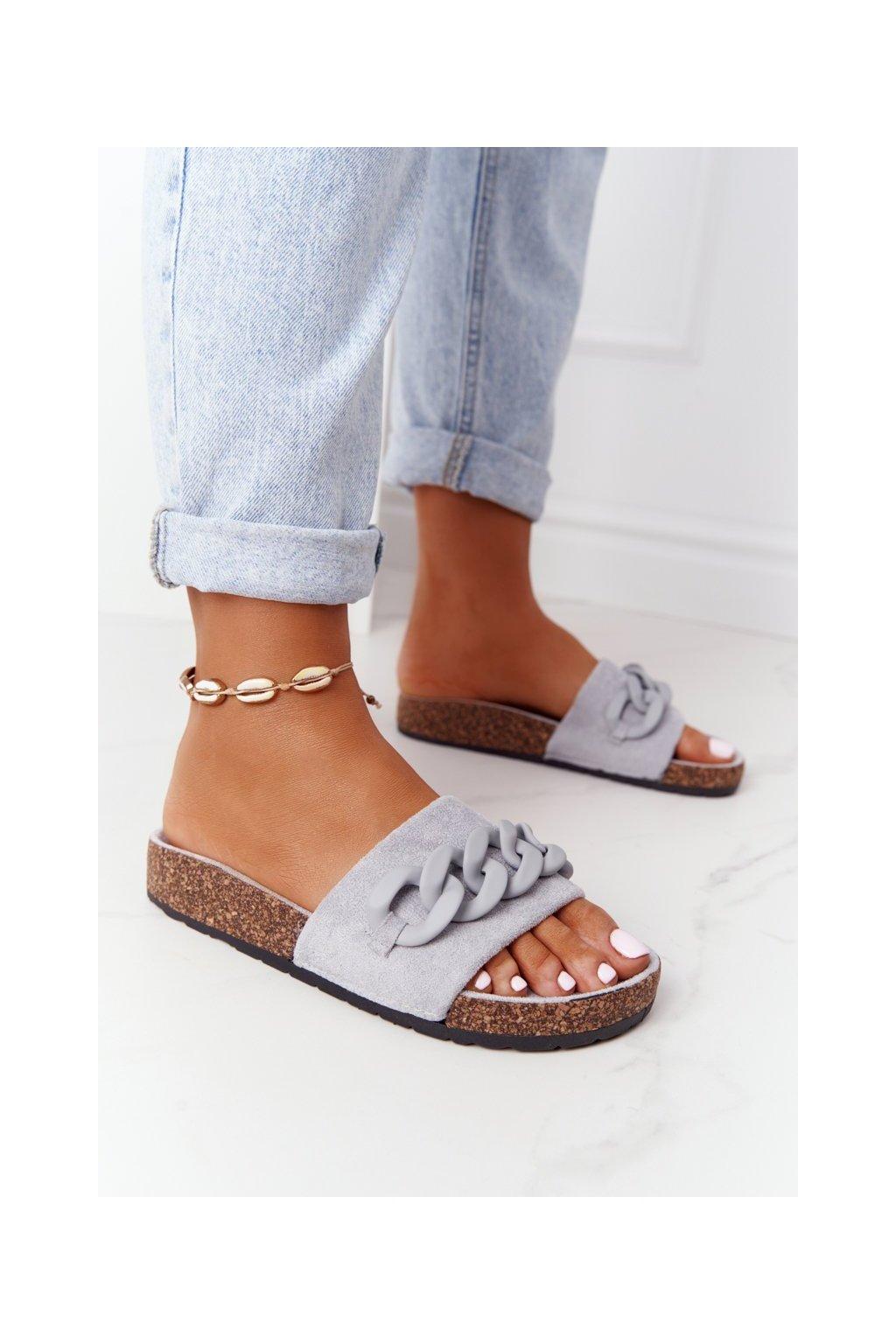 Dámske šľapky farba sivá kód obuvi DZ907-33 GREY