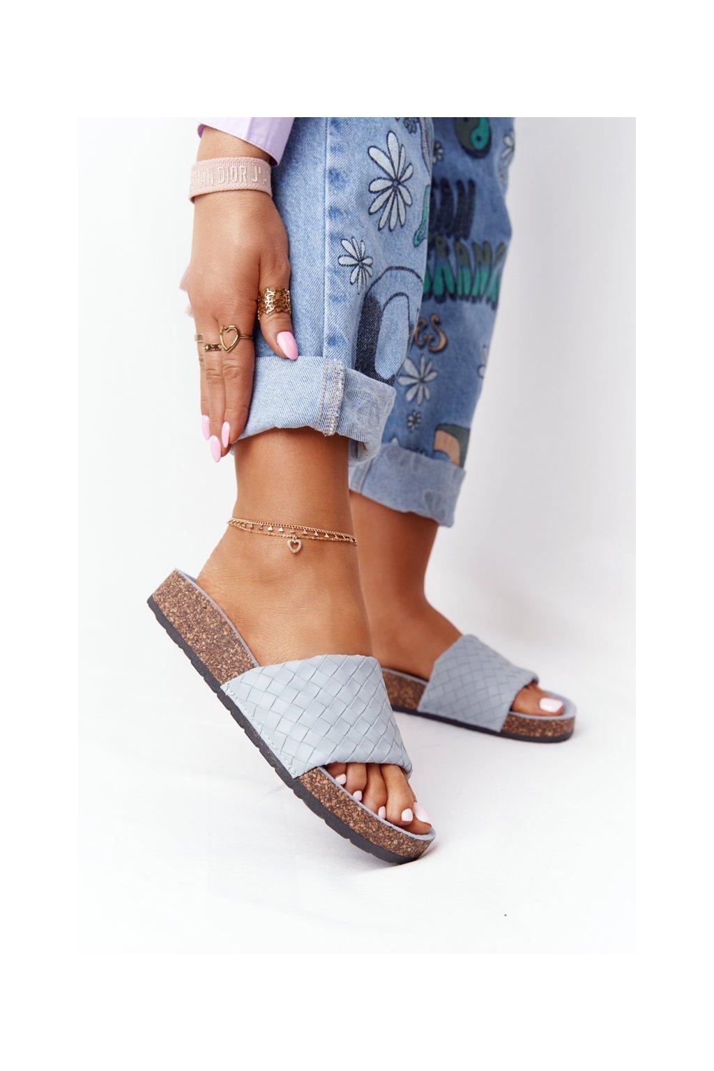 Dámske šľapky farba modrá kód obuvi DZ909-13 L.BLUE